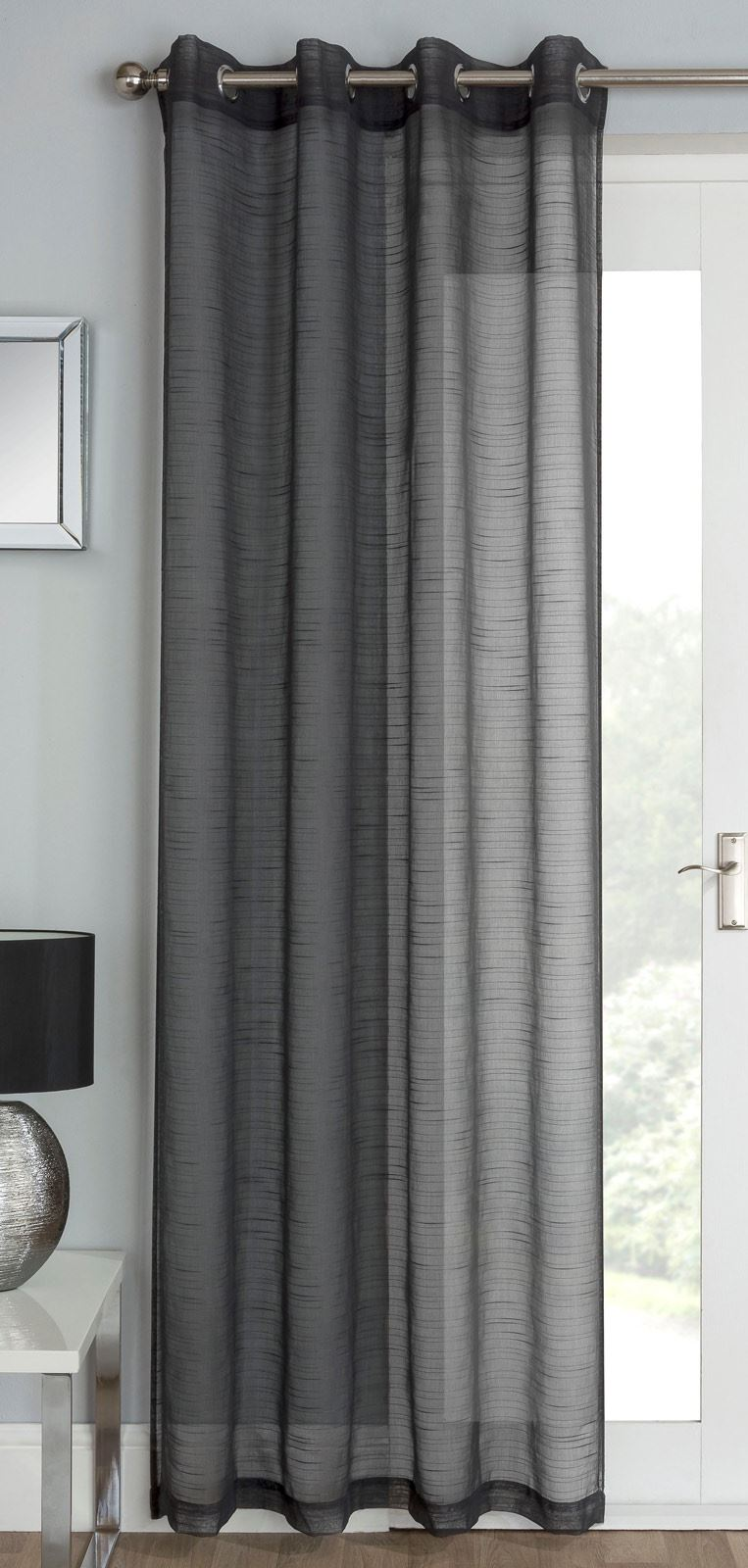silver grey white voile eyelet curtains ring top sparkle. Black Bedroom Furniture Sets. Home Design Ideas