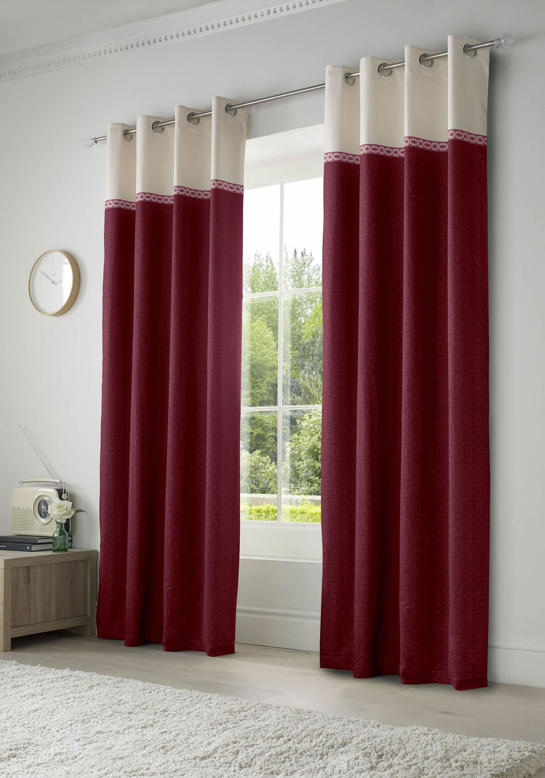 Toronto Lined Eyelet Curtains Ready Made Ring Top