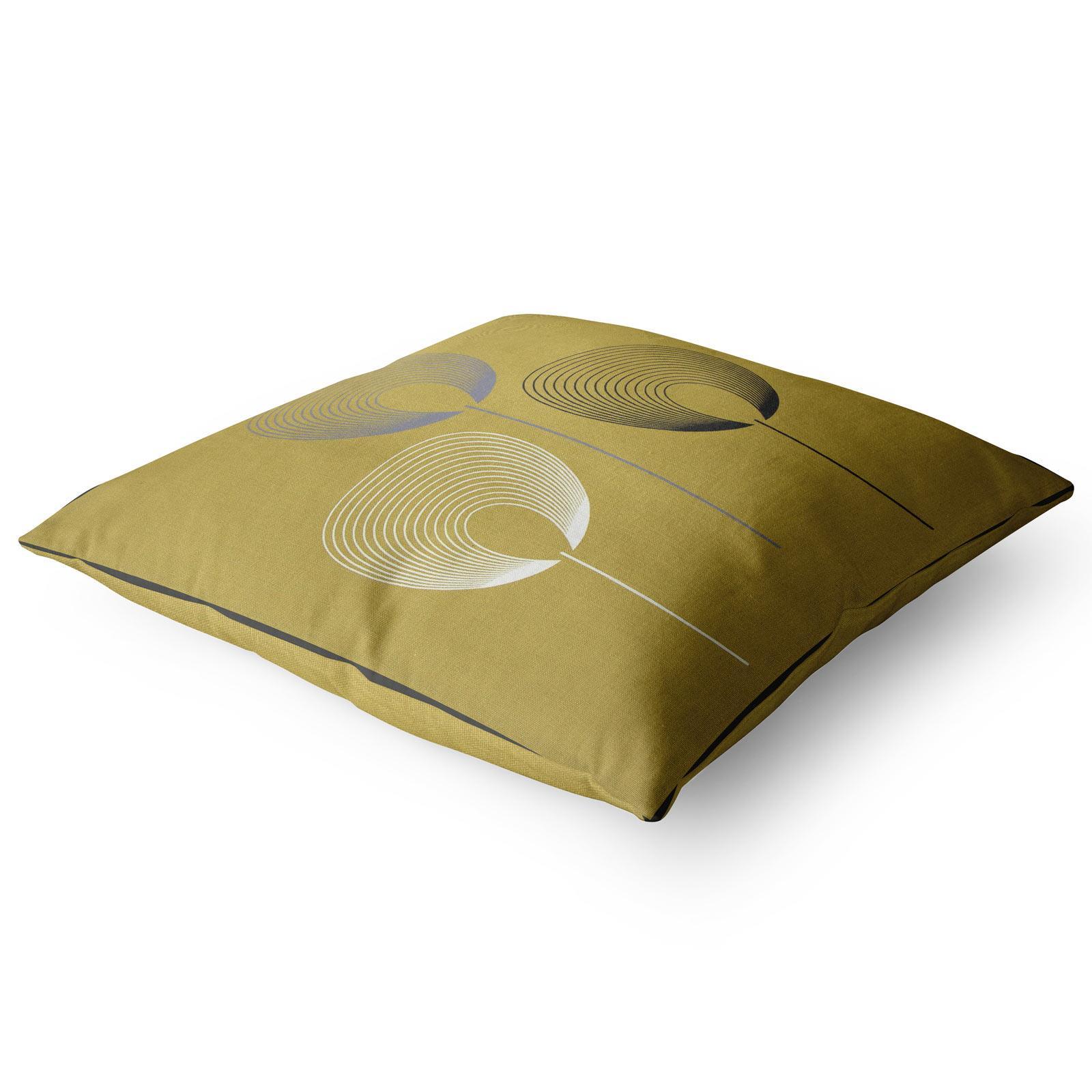 Geometrica-Cushion-Covers-Cojines-De-Impresion-Floral-Gris-Beige-Ocre-cubre-17-034-X-17-034 miniatura 3