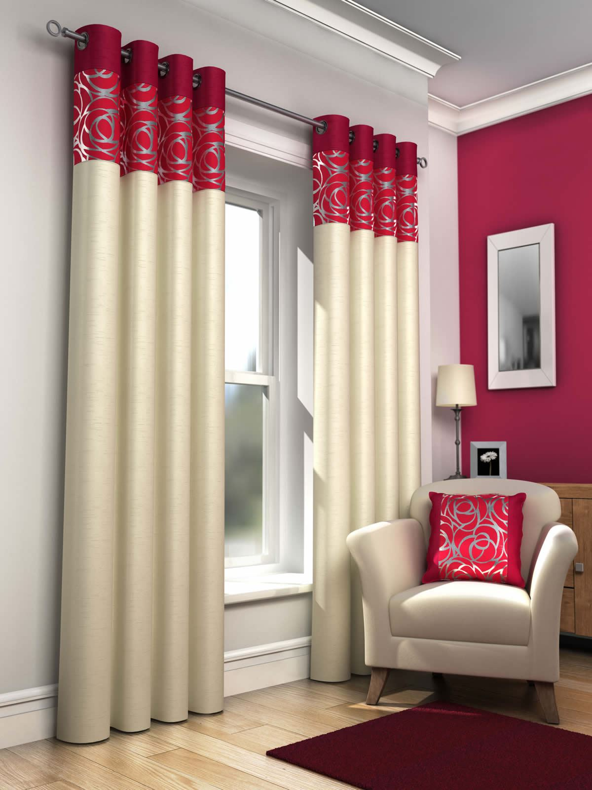 Skye lined eyelet curtains faux silk metallic ready made ring top curtain pairs ebay for Red and cream curtains for living room
