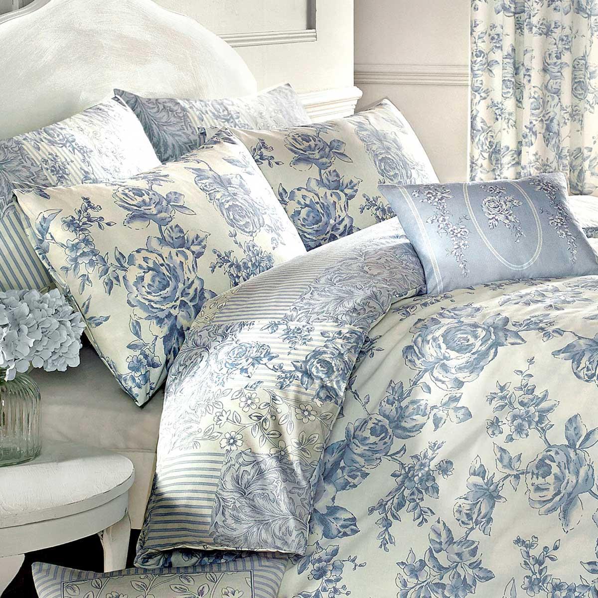 Fundas-de-edredon-azul-con-motivos-florales-Patchwork-Toile-pais-Edredon-Cubierta-de-Lujo-sistemas miniatura 8