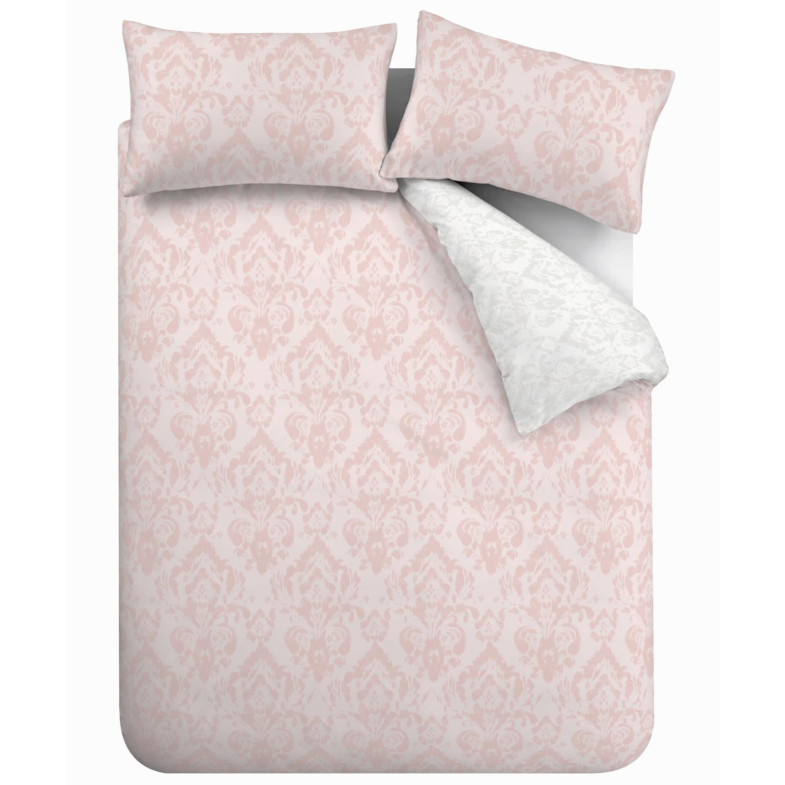 thumbnail 7 - Catherine Lansfield Damask Blush Duvet Covers Pink Grey Quilt Cover Bedding Sets