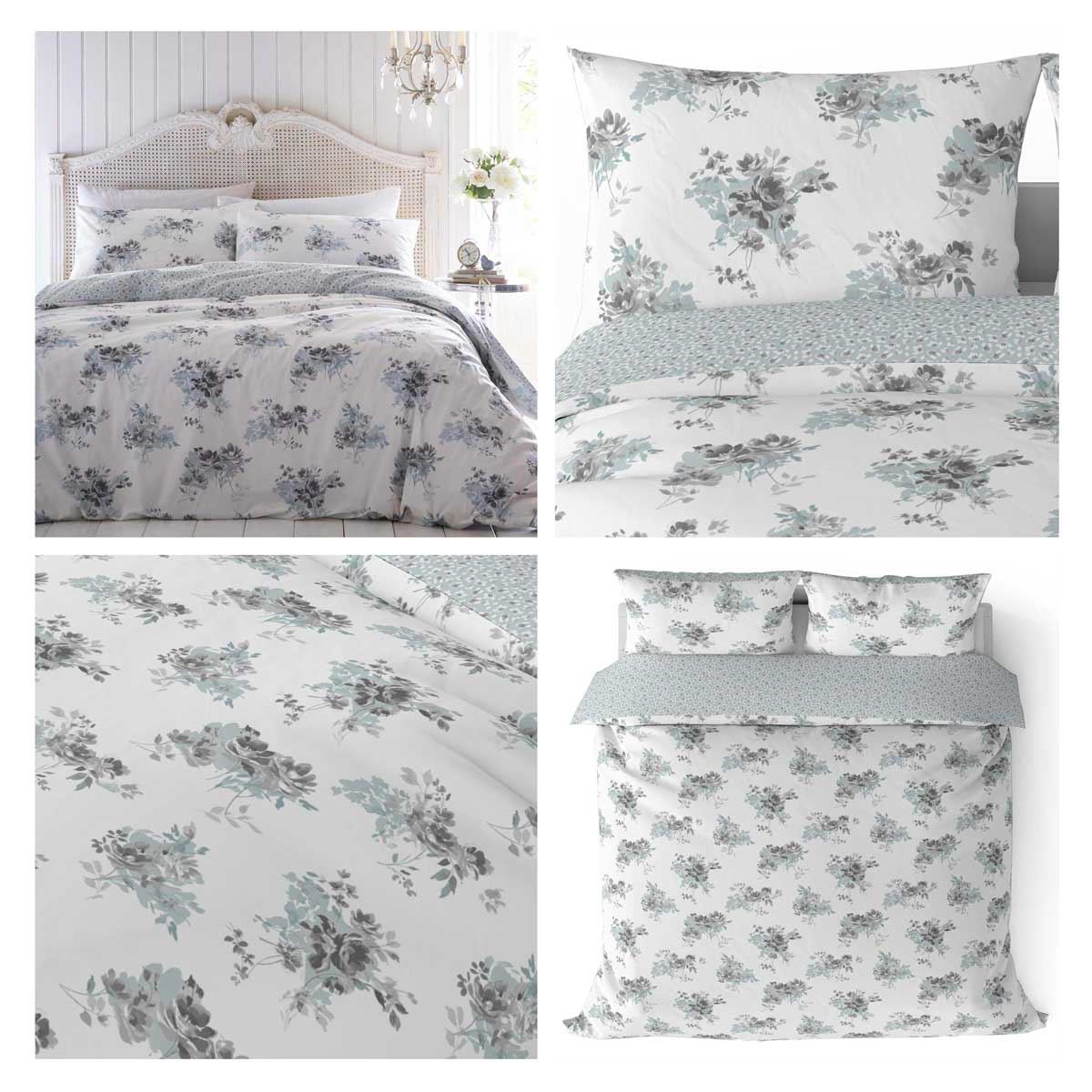 Dreams /& Drapes CHERYL White /& Blue Floral Easy Care Duvet Cover Set