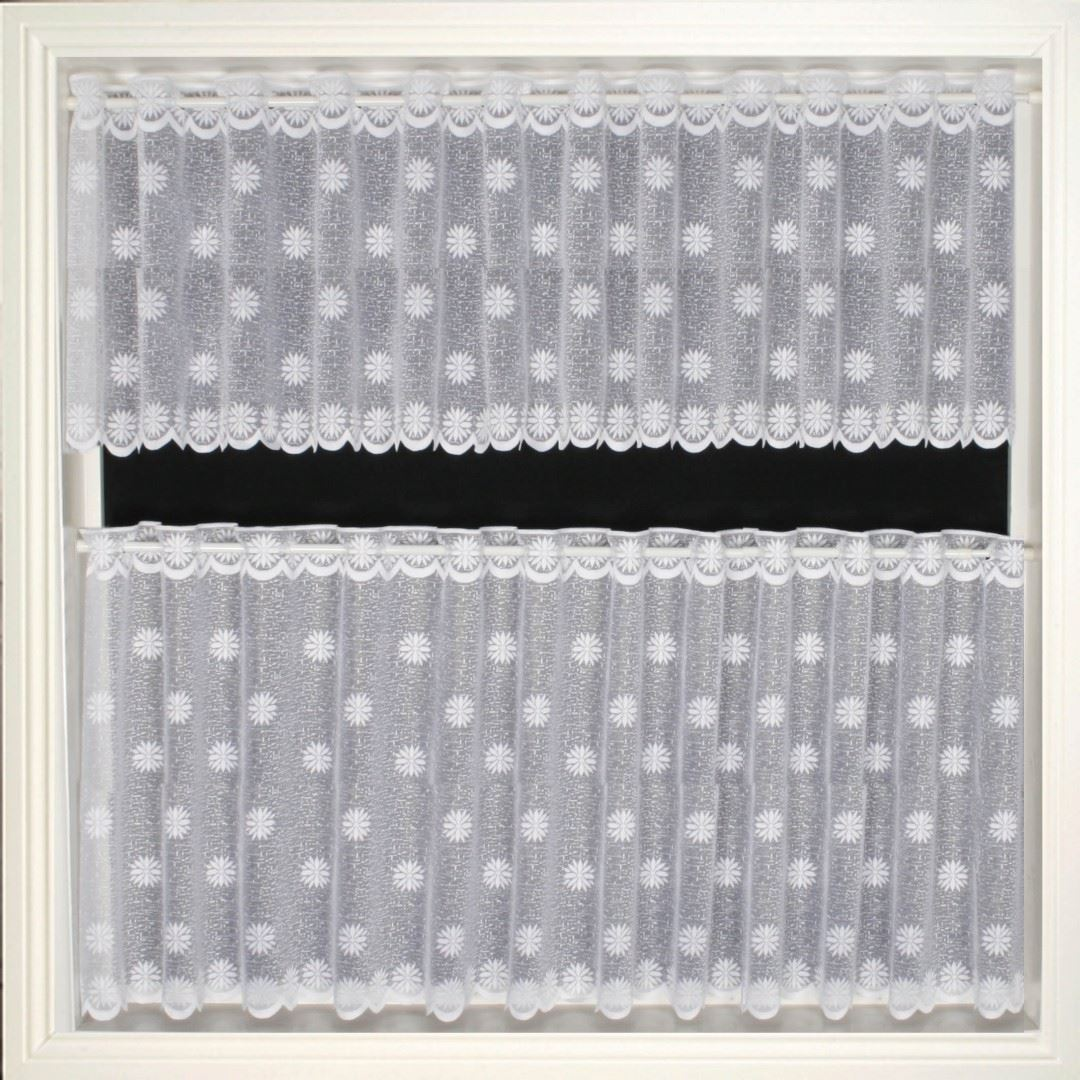 white net curtains available in various drops ready to hang on a thin rod or wire