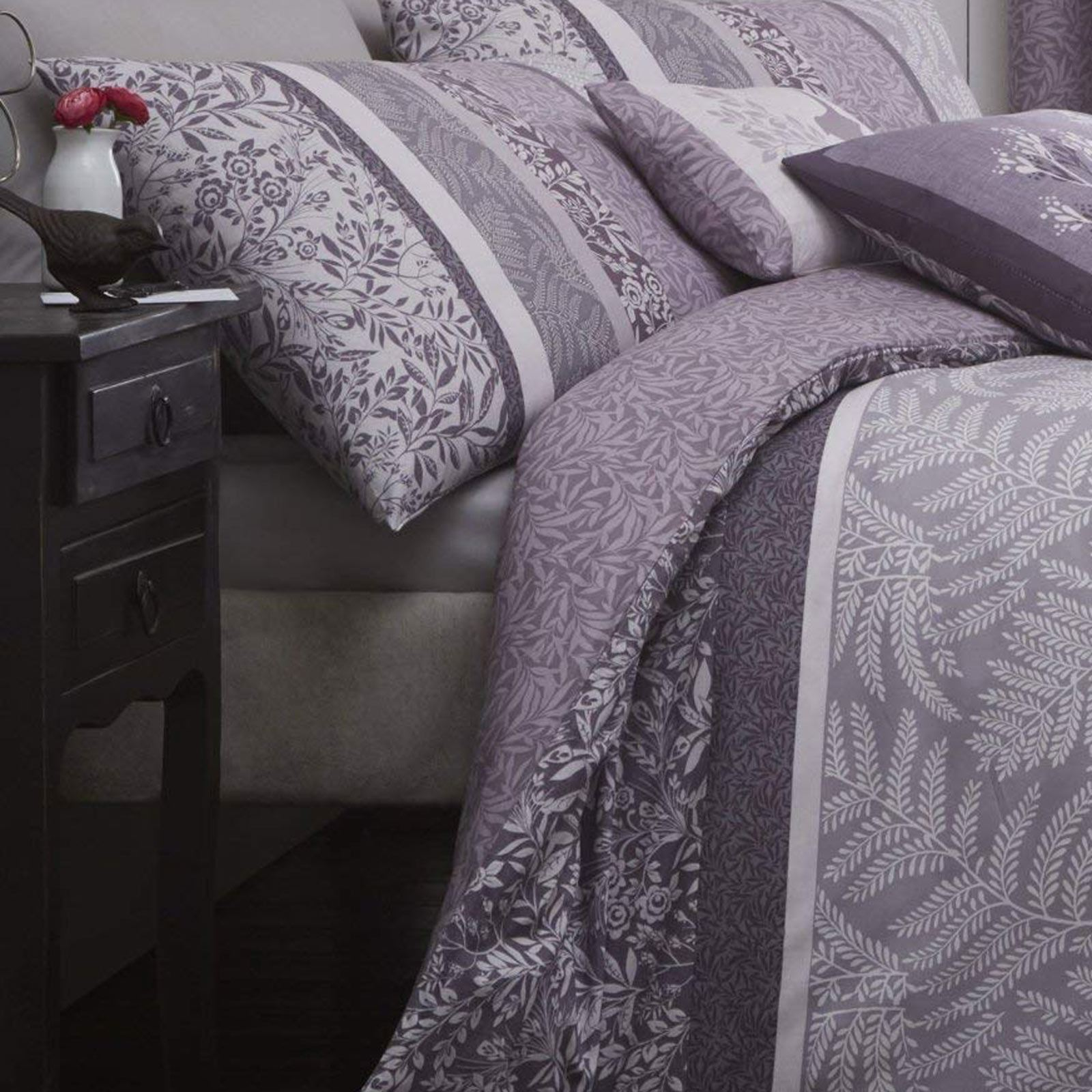 Heather Duvet Cover Lilac Purple Printed Cotton Quilt Set