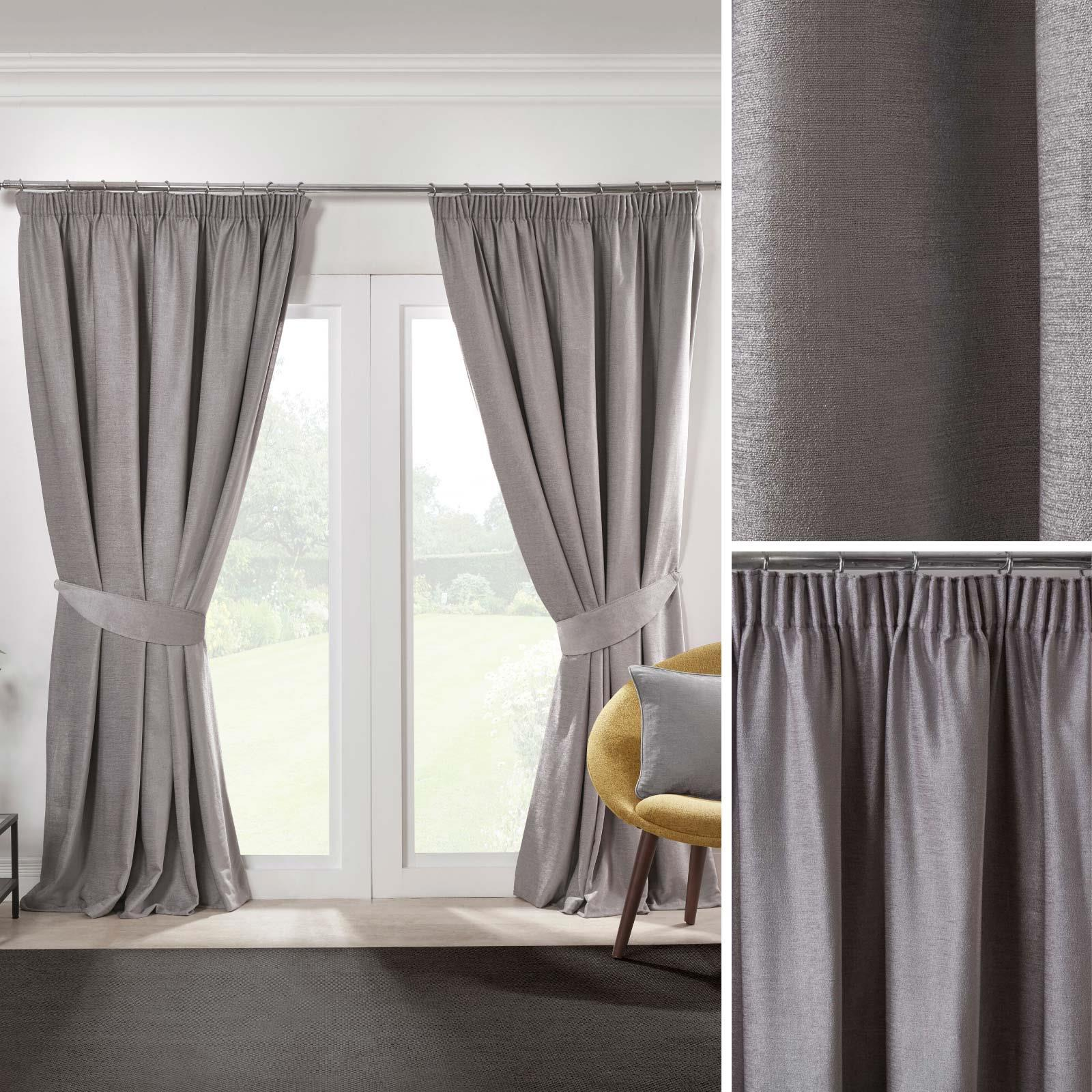 Grey Blackout Curtains Tape Top Plain Ready Made Lined Pencil Pleat Curtain Pair