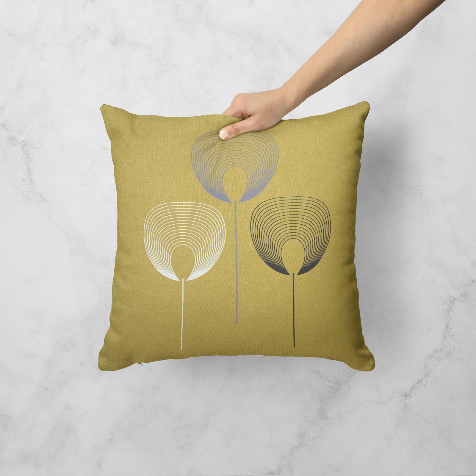 Geometrica-Cushion-Covers-Cojines-De-Impresion-Floral-Gris-Beige-Ocre-cubre-17-034-X-17-034 miniatura 6