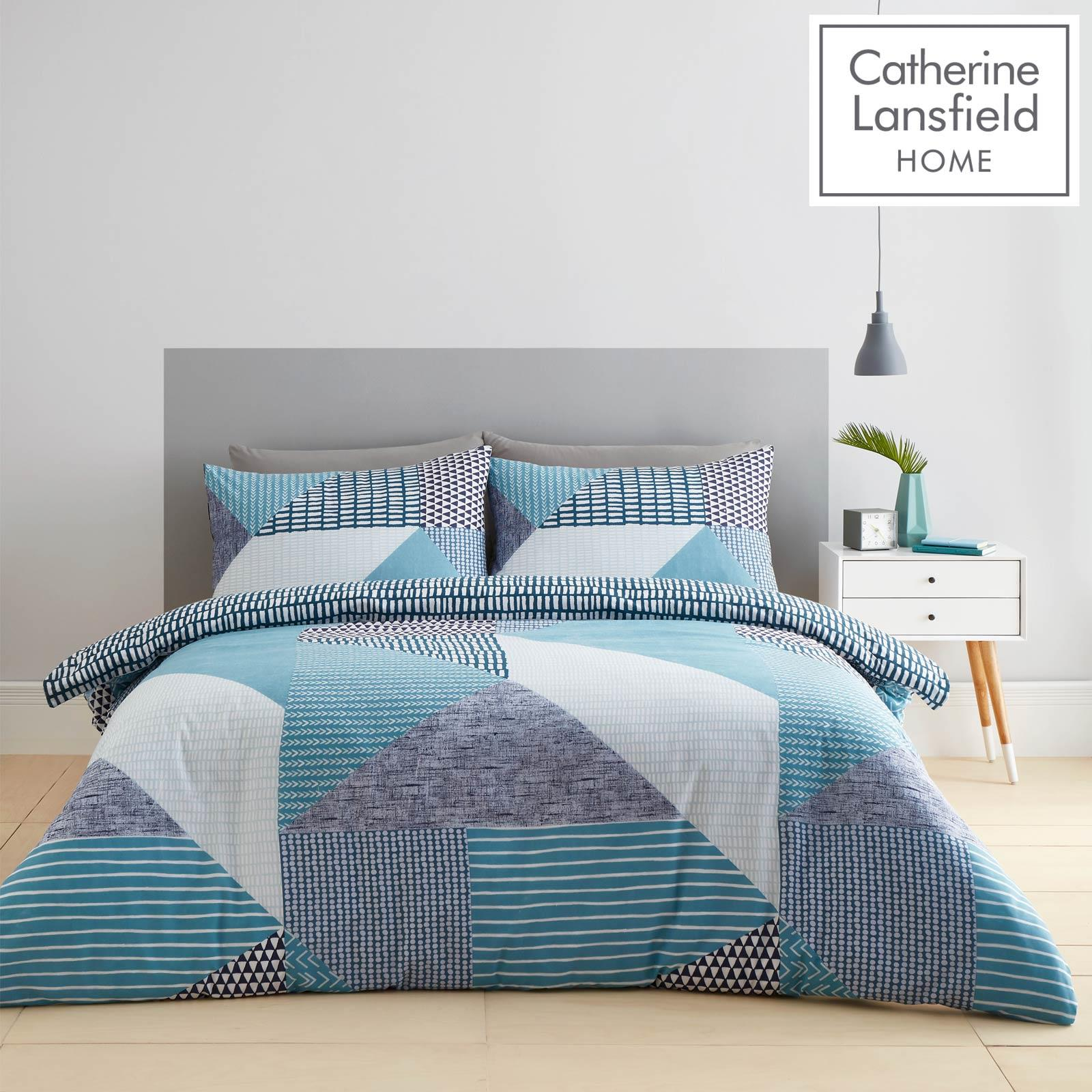 Catherine Lansfield Larsson Geo Teal Duvet Covers Blue Quilt Cover Bedding Sets Ebay