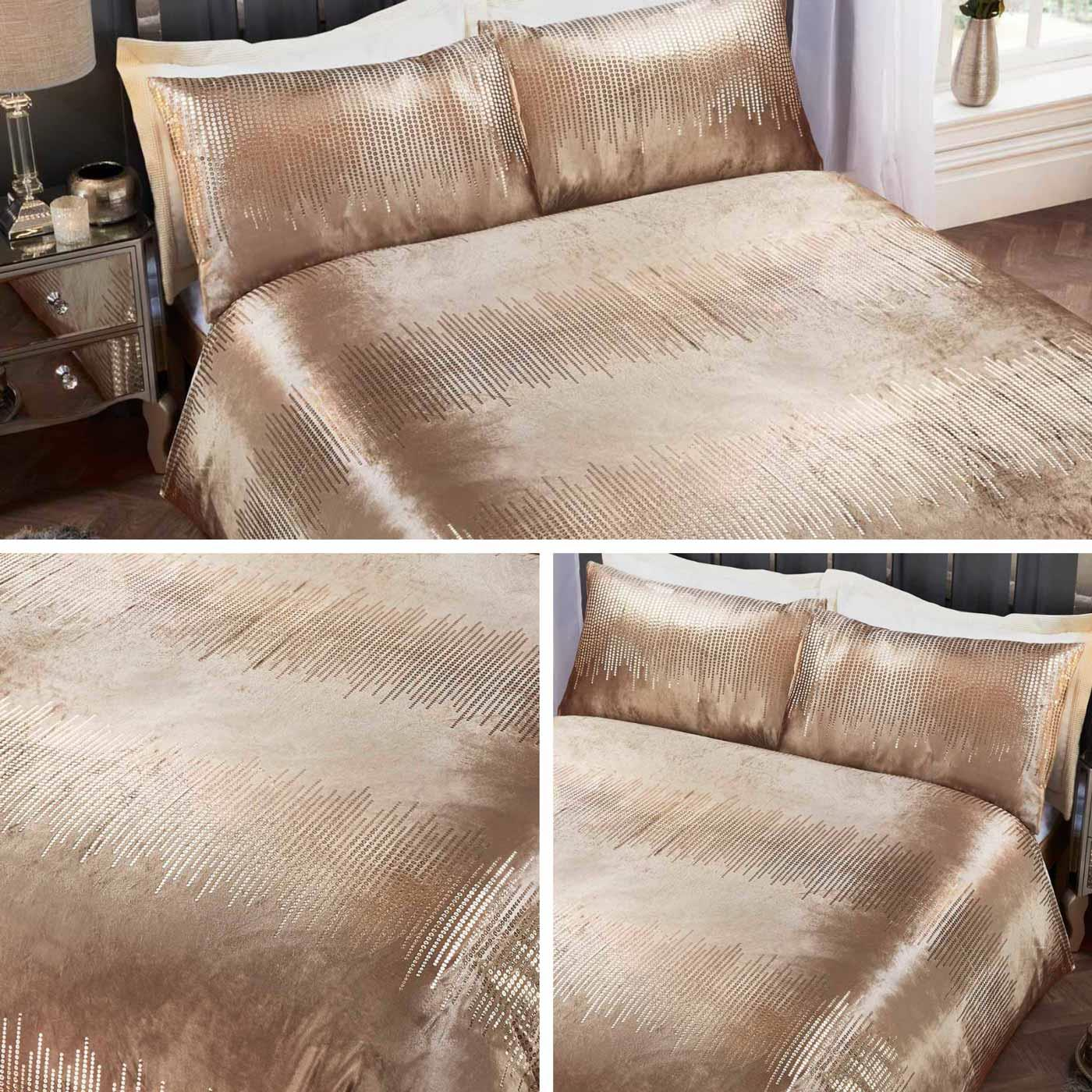 Gold Duvet Covers Crushed Velvet Metallic Sequins Print Quilt Cover Bedding Sets Ebay