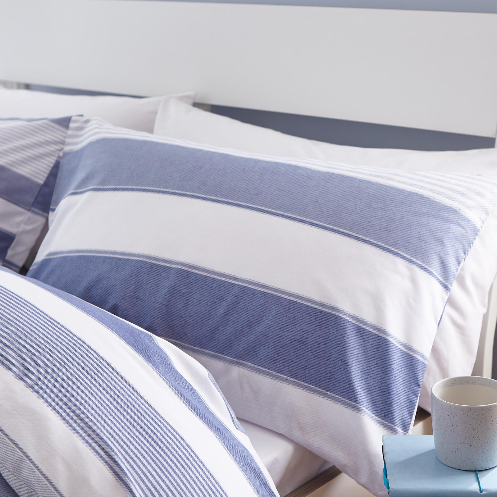miniatuur 4 - Catherine Lansfield Newquay Stripe Blue Duvet Covers Quilt Cover Bedding Sets