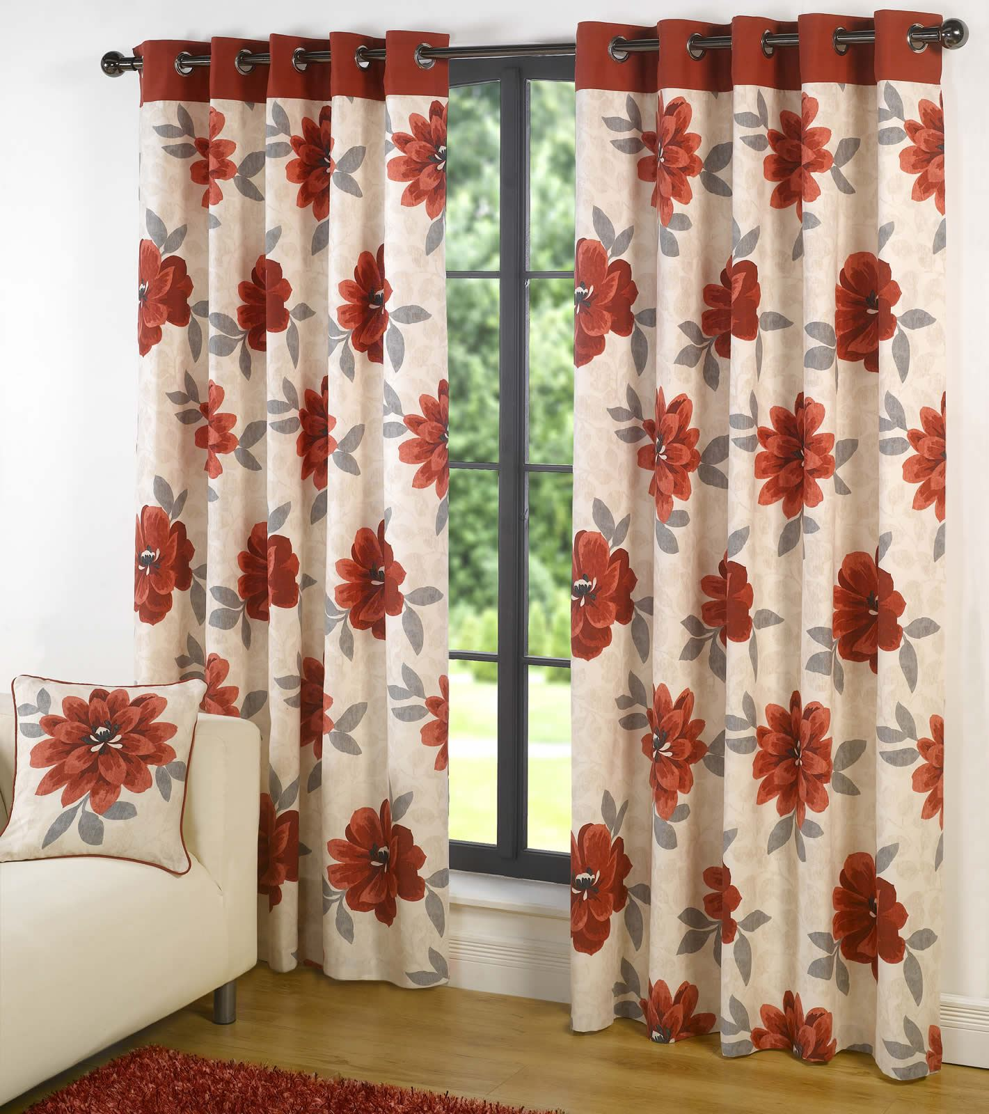 Annabella Lined Eyelet Curtains Ready Made Ring Top Floral