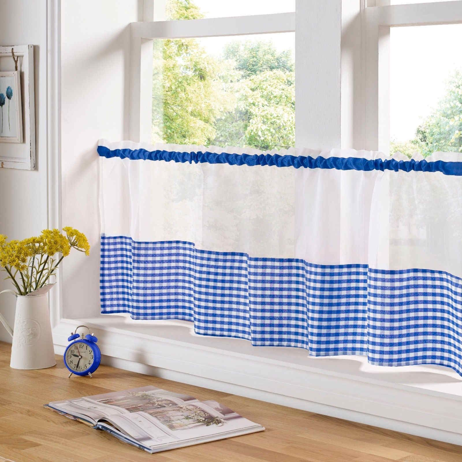 COUNTRY-KITCHEN-GINGHAM-CURTAIN-PAIR-WINDOW-DRAPES-DINING-ROOM