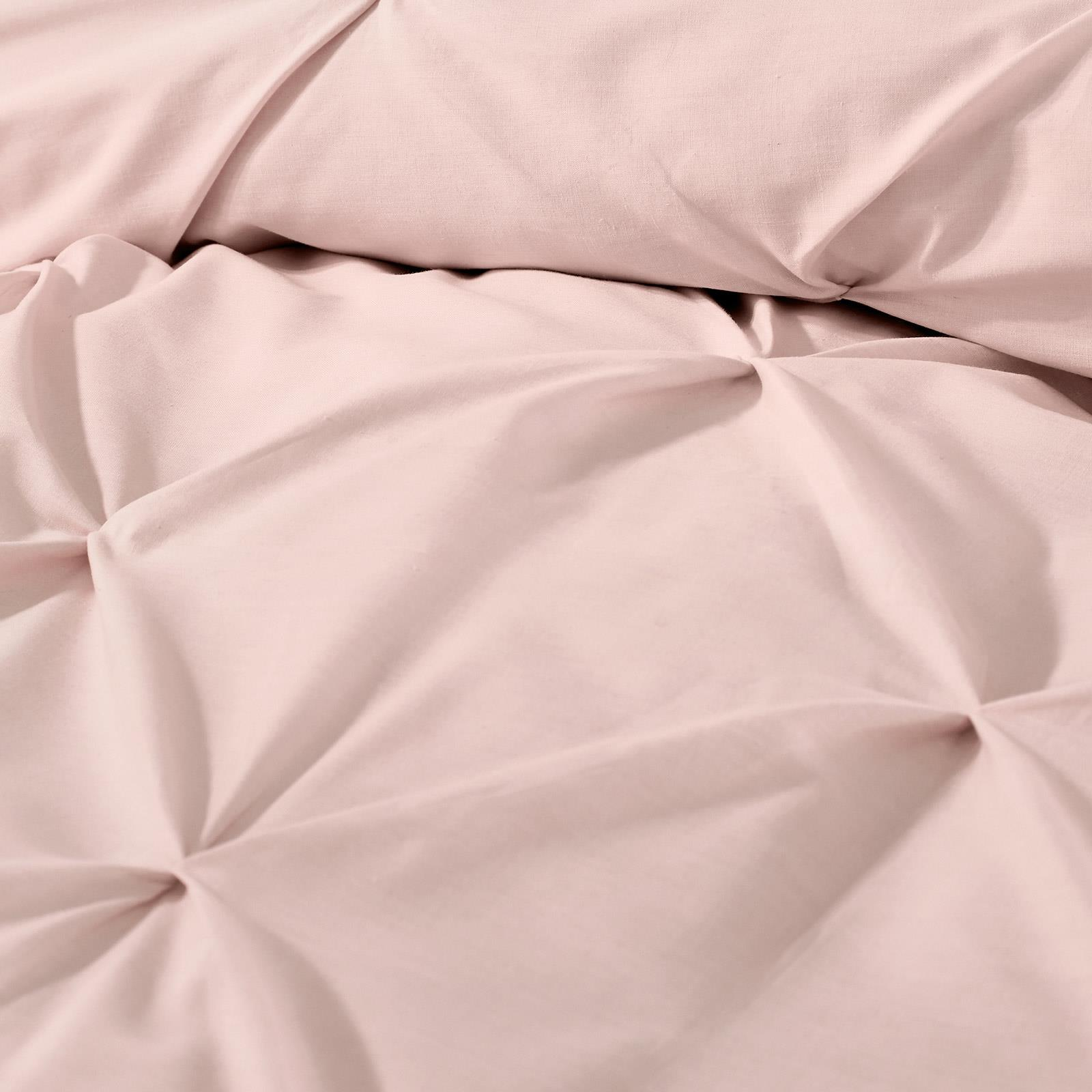 Blush-Duvet-Covers-Ruched-Pin-Tuck-Stitched-Plain-Pink-Quilt-Cover-Bedding-Sets thumbnail 11