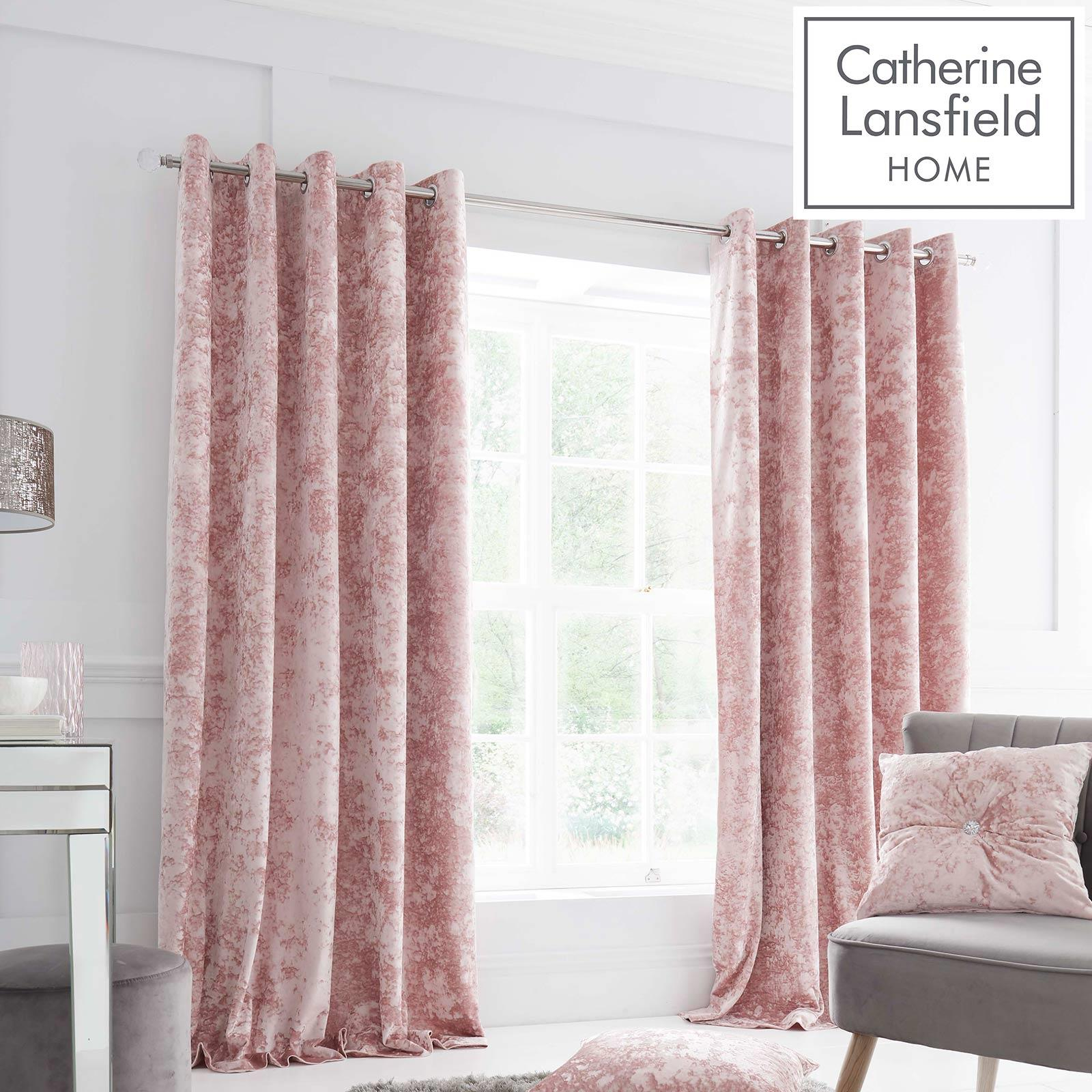 Catherine Lansfield Crushed Velvet Blush Eyelet Curtains Pink Lined Curtain Pair Ebay