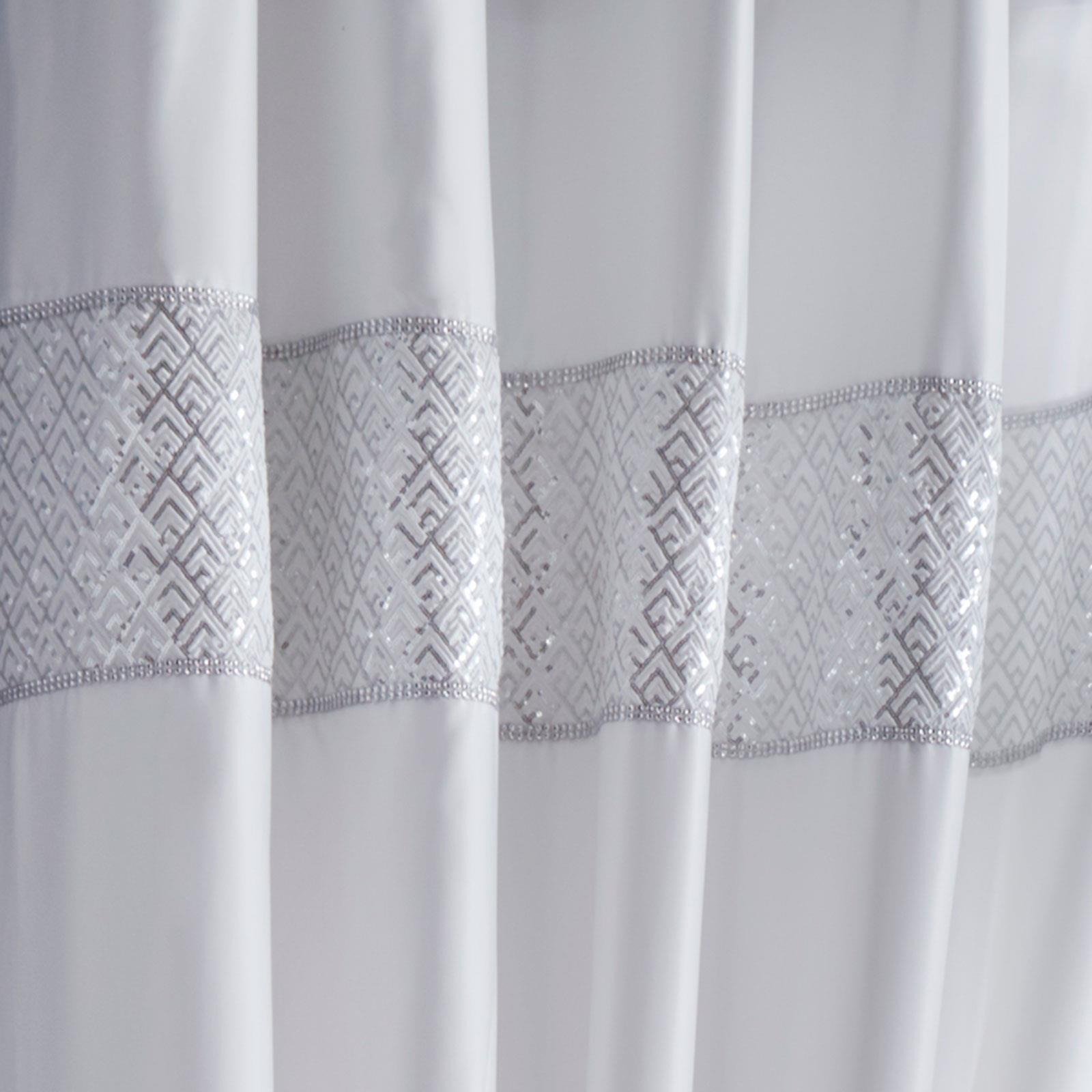 Silver Eyelet Curtains Sequin Sparkle Faux Satin Ready Made Lined Ring Top Pairs