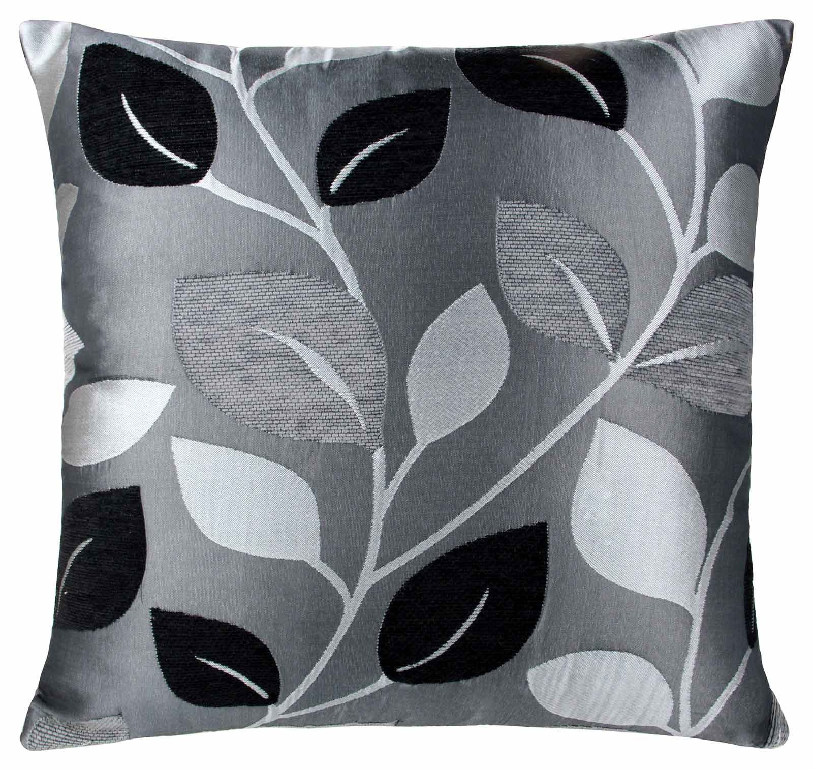 "EDEN LEAF FAUX SILK CUSHION COVER 18"" x 18"" SILVER GREY TEAL BLUE"