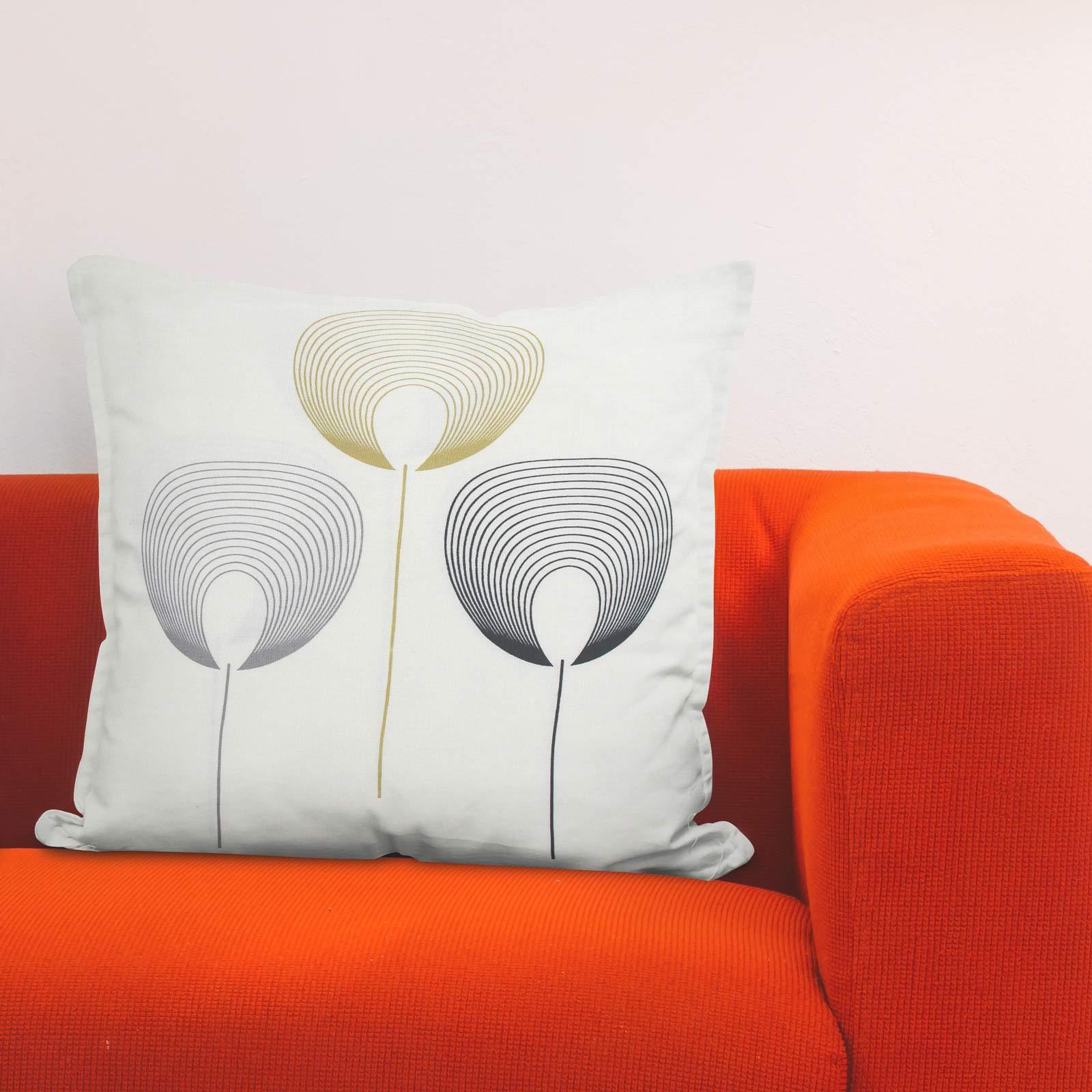 Geometrica-Cushion-Covers-Cojines-De-Impresion-Floral-Gris-Beige-Ocre-cubre-17-034-X-17-034 miniatura 13