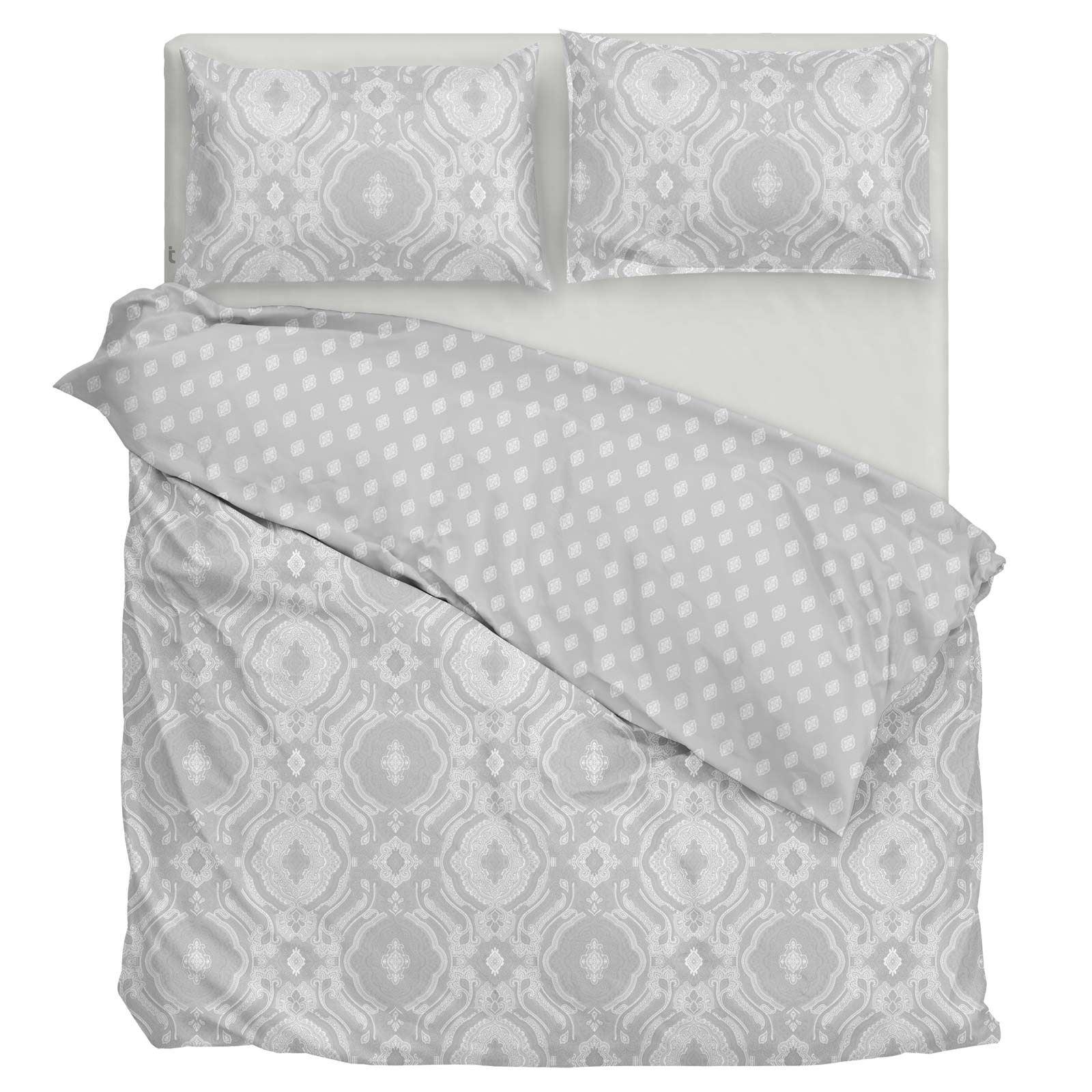 Grigio-Argento-Copripiumino-Stampato-Jacquard-Quilt-Set-Set-di-biancheria-da-letto-copre miniatura 5