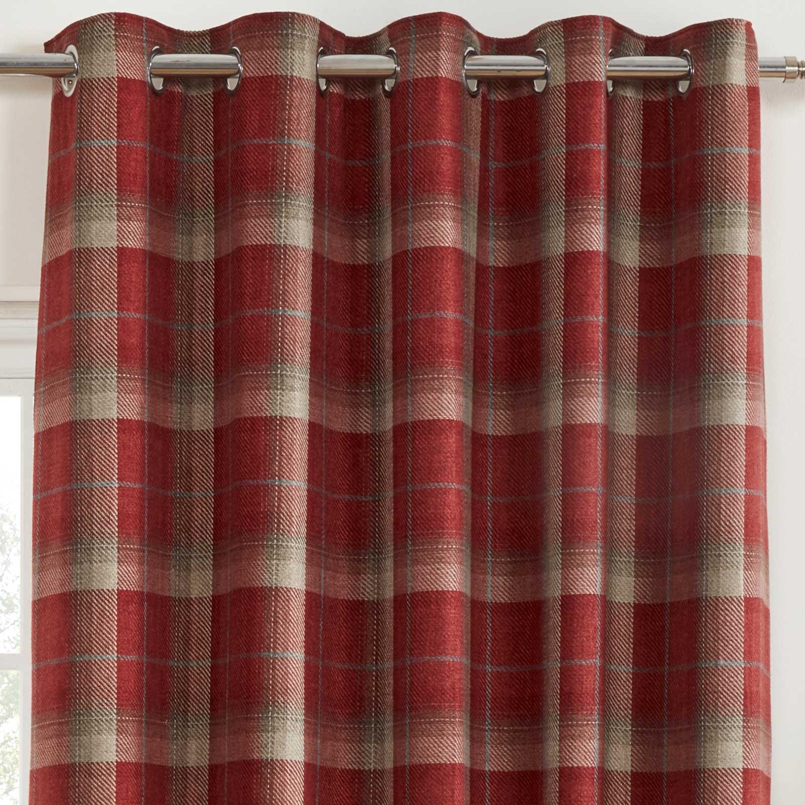 Cortinas-DE-ORIFICIOS-Rojo-Blackout-Tartan-Check-Ready-Made-acogedor-Anillo-Superior-Cortina-Pares miniatura 7