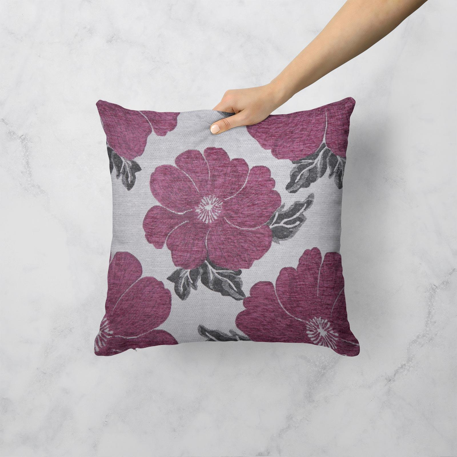 Chenille-Cushion-Cover-Floral-Reversible-Thick-Cushions-Covers-18-034-22-034-9-Colours thumbnail 18