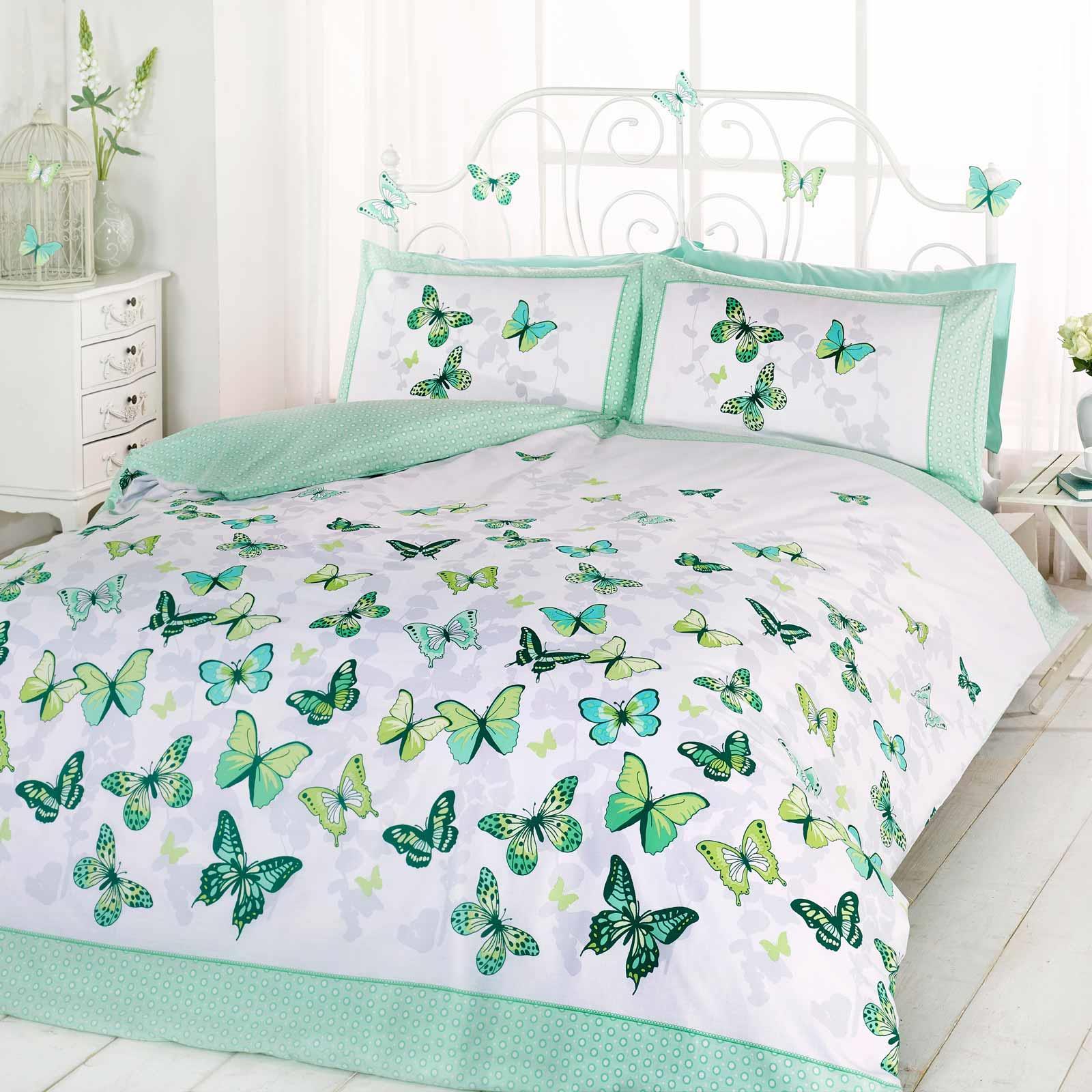 Butterflies Duvet Covers Flutter Floral Butterfly Reversible Bedding Quilt Sets