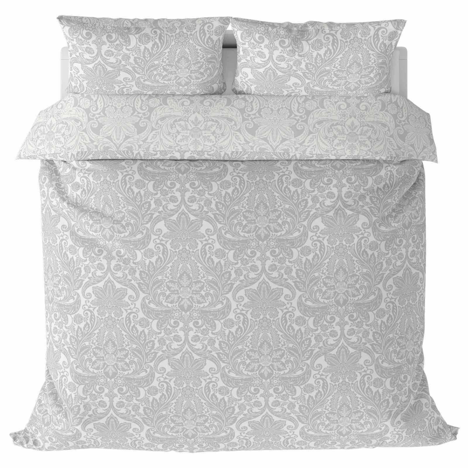 Grigio-Argento-Copripiumino-Stampato-Jacquard-Quilt-Set-Set-di-biancheria-da-letto-copre miniatura 46
