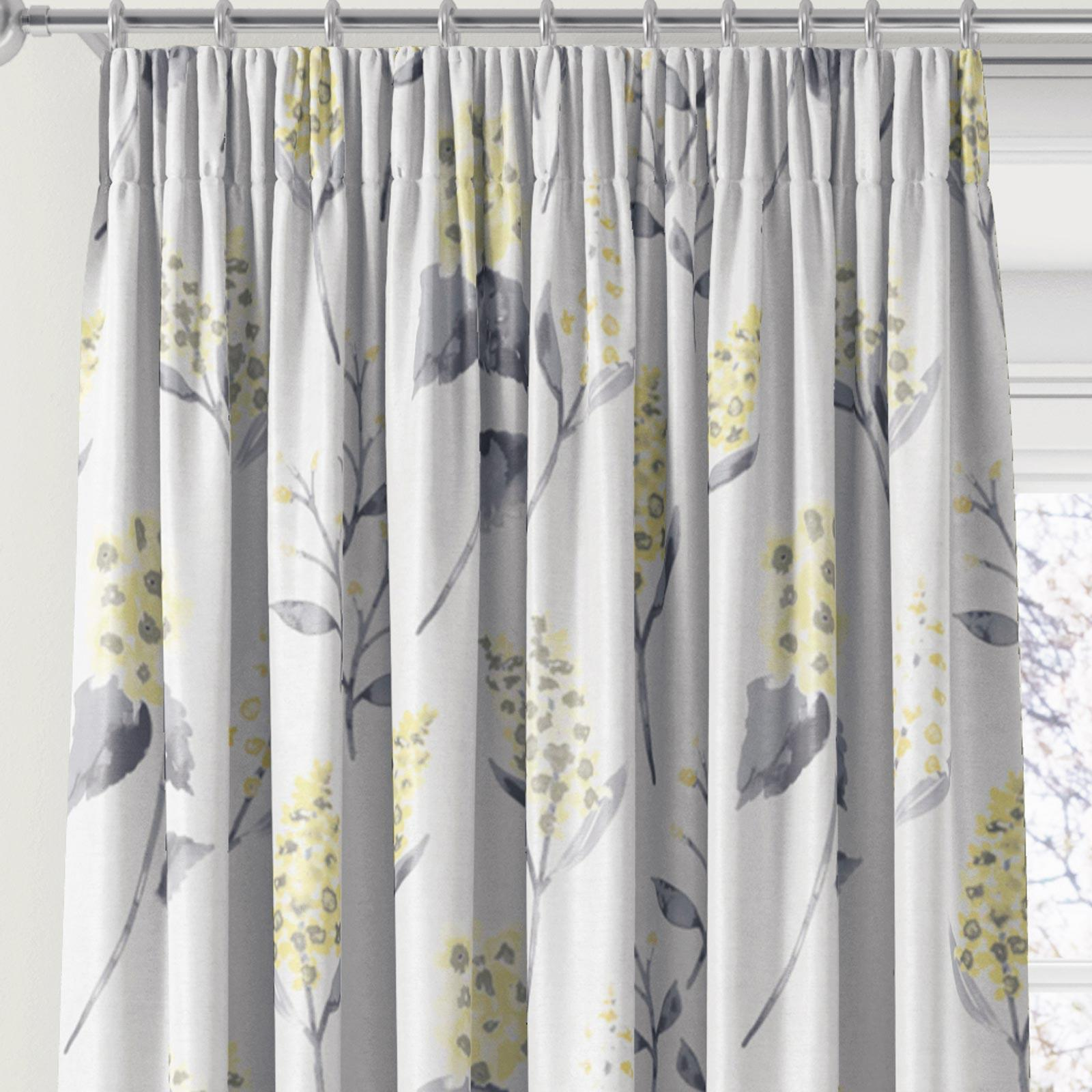 Floral Tape Top Top Top Curtains Luxury Printed Ready Made 3  Pencil Pleat Curtain Pairs 48ca9b