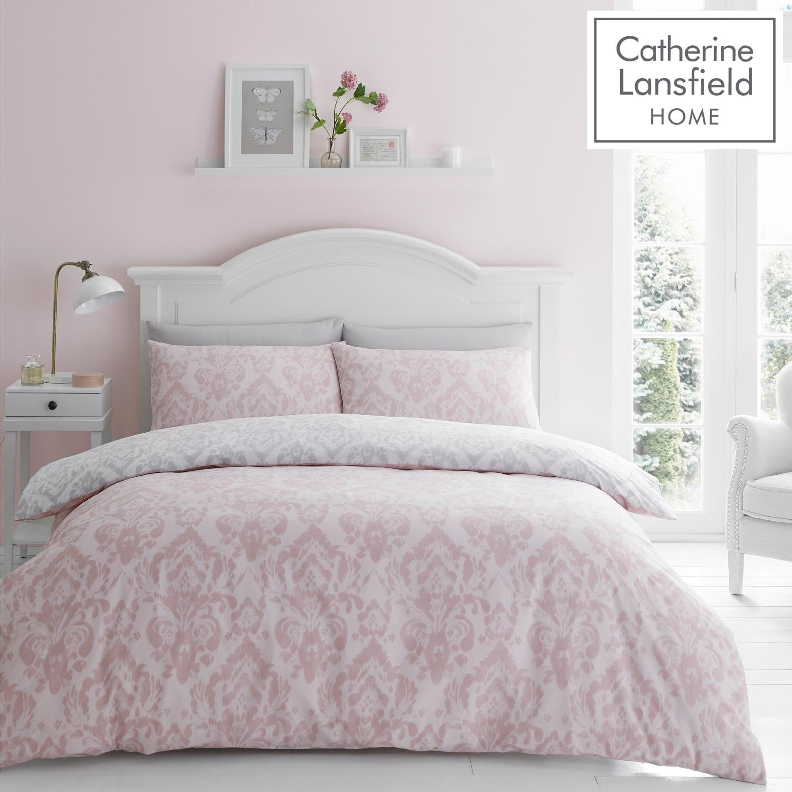 Catherine Lansfield Damask Blush Duvet Covers Pink Grey Quilt Cover Bedding Sets Ebay