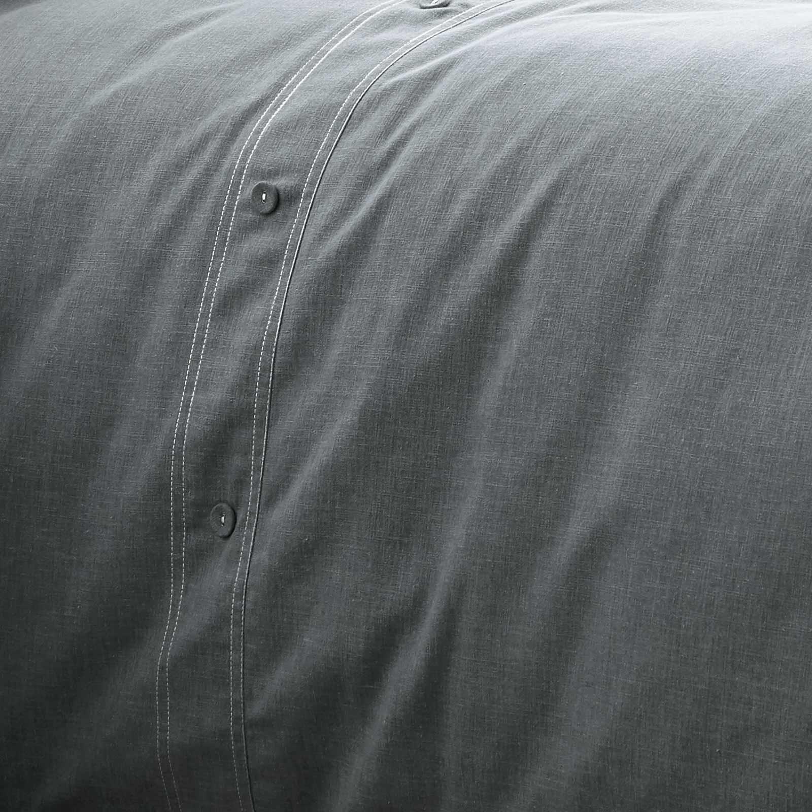 Azul-fundas-nordicas-Denim-Chambray-Boton-Detalle-de-lujo-cubierta-del-edredon-conjuntos-de-cama miniatura 3