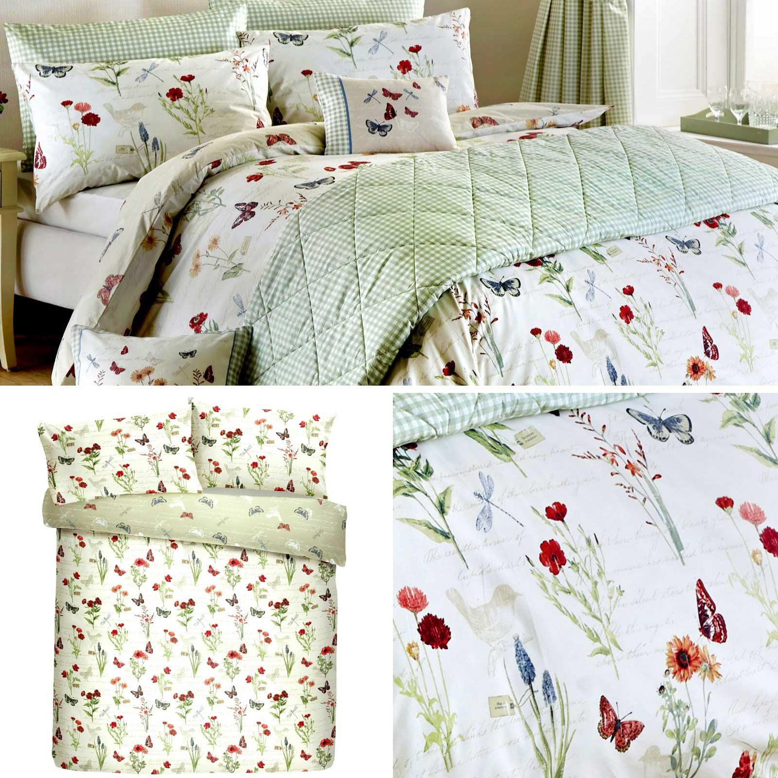 Green Duvet Covers Floral Butterfly Print Country Reversible Quilt Bedding Sets Ebay