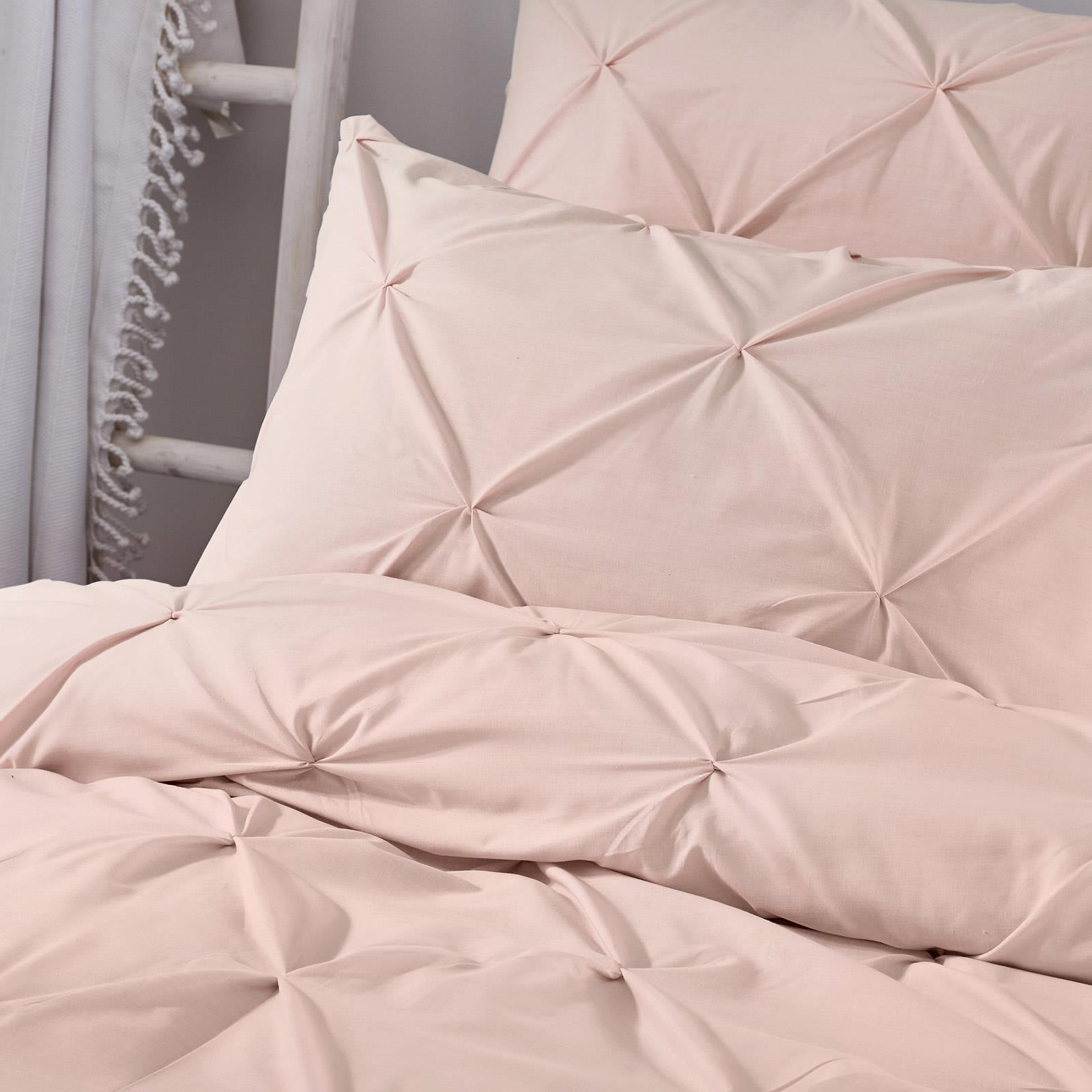Blush-Duvet-Covers-Ruched-Pin-Tuck-Stitched-Plain-Pink-Quilt-Cover-Bedding-Sets thumbnail 4