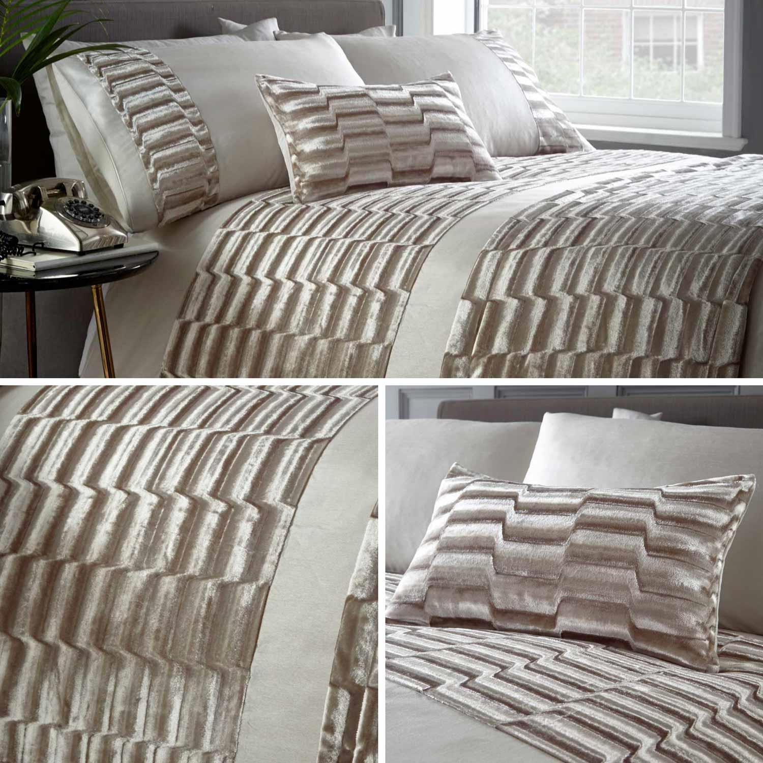 Cream Duvet Covers Luxury Crushed Velvet Glam Boudoir Quilt Cover Bedding Sets Ebay