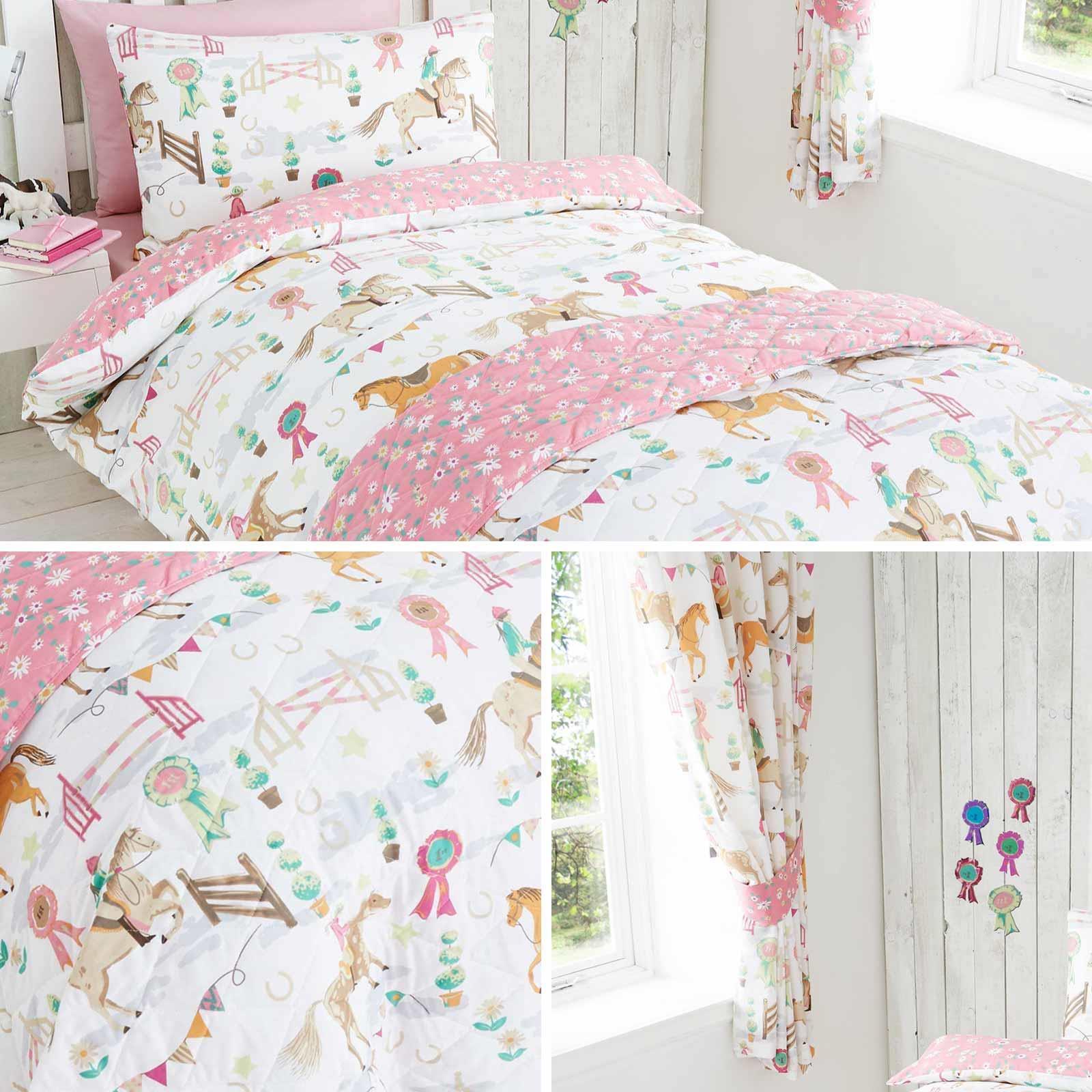 Pink Duvet Covers Horses Horse Show Polka Dot Girls Kids Quilt Cover Bedding Set Ebay