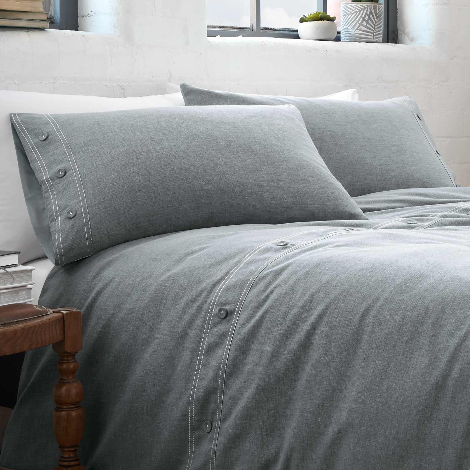 Azul-fundas-nordicas-Denim-Chambray-Boton-Detalle-de-lujo-cubierta-del-edredon-conjuntos-de-cama miniatura 4
