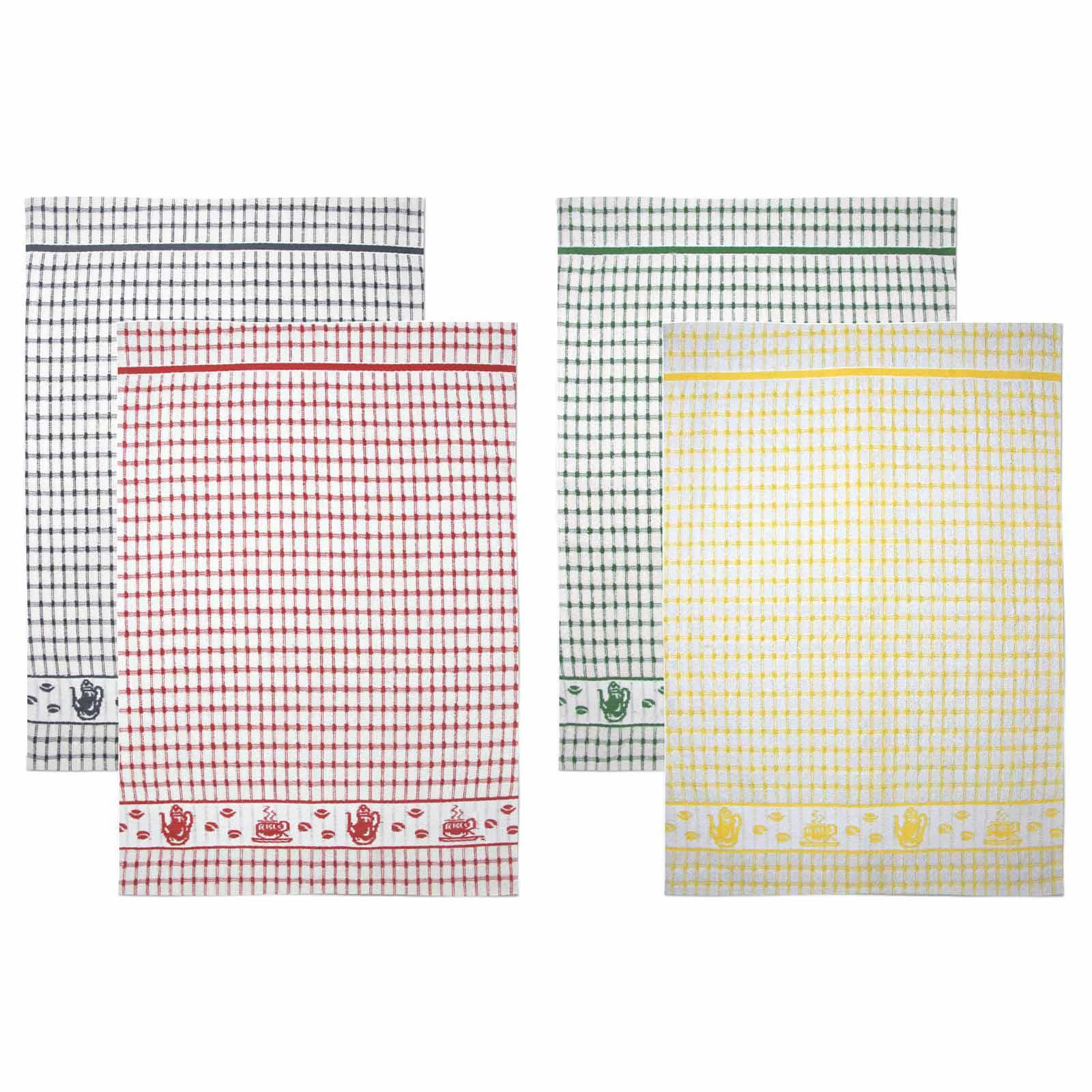 Packs-of-2-4-6-12-Tea-Towels-100-Cotton-Terry-Kitchen-Dish-Drying-Towel-Sets thumbnail 80
