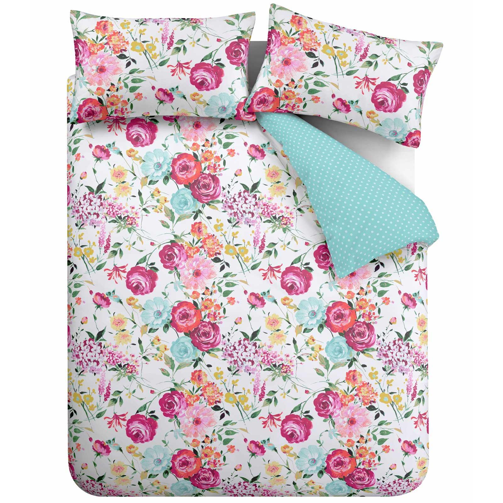 Catherine-Lansfield-Salisbury-Pink-cubierta-del-edredon-edredon-cubre-floral-de-conjuntos-de-cama miniatura 5