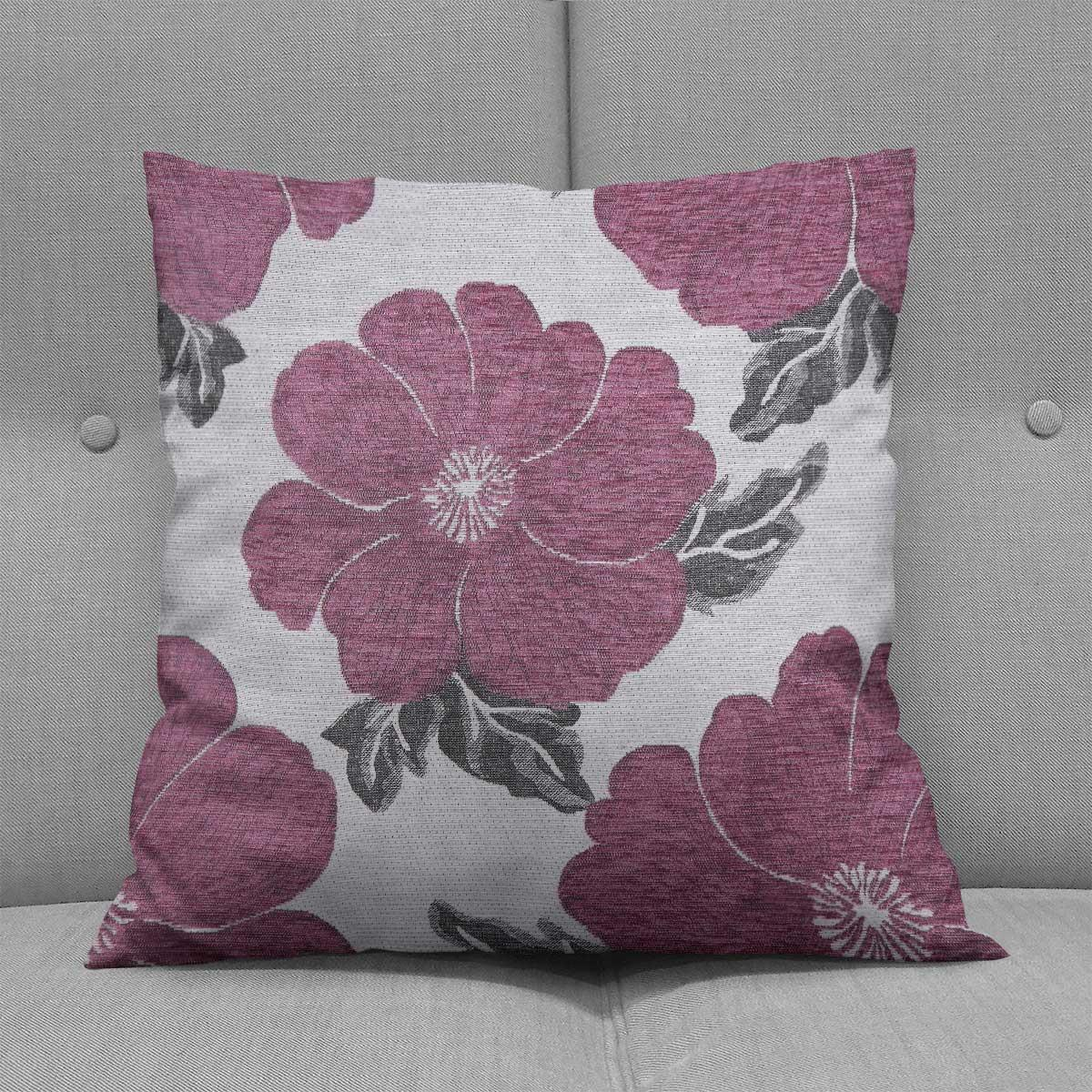 Chenille-Cushion-Cover-Floral-Reversible-Thick-Cushions-Covers-18-034-22-034-9-Colours thumbnail 19