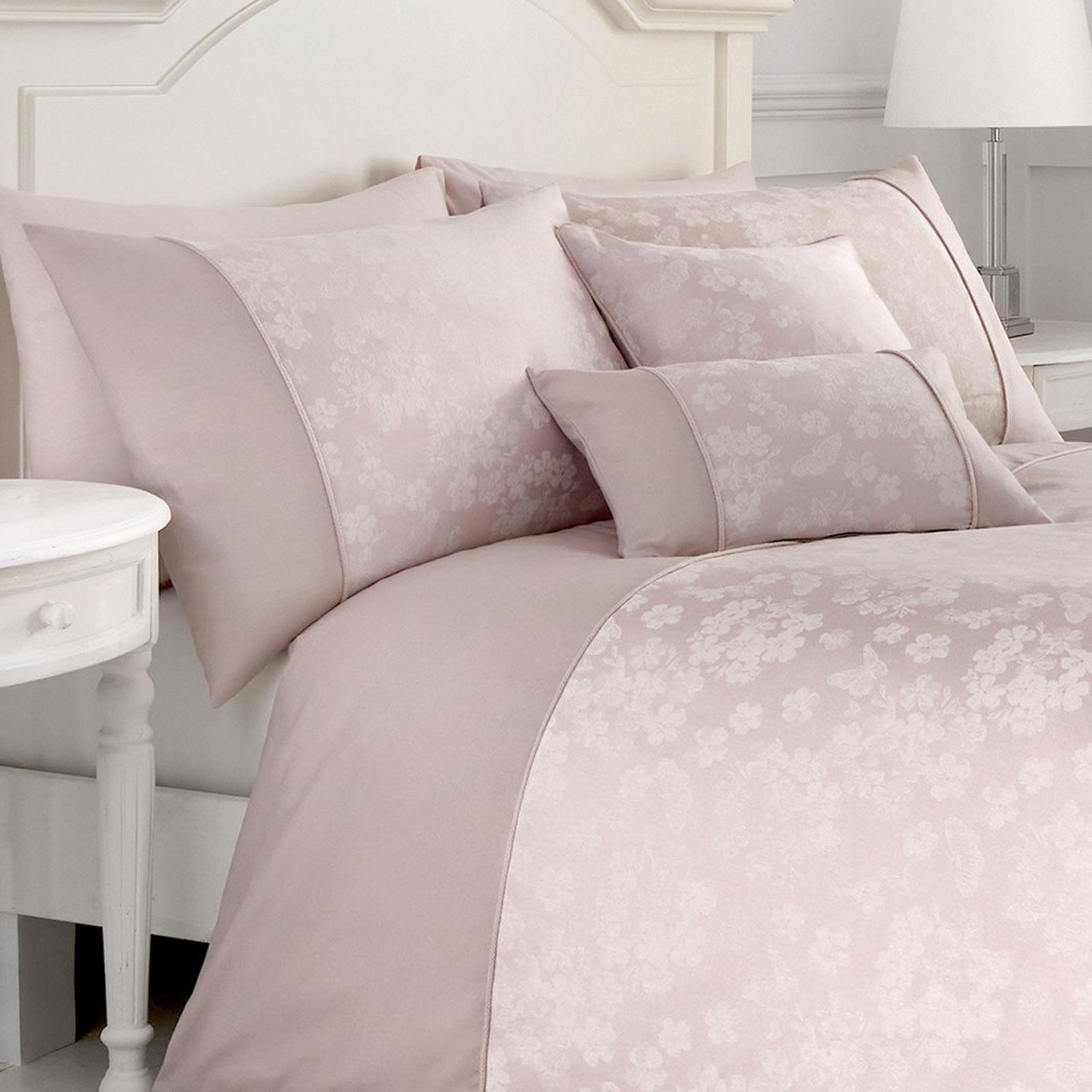 Fundas-de-Edredon-Rosa-Blush-Jacquard-Floral-Cubierta-Del-Edredon-Conjuntos-de-Ropa-de-cama-de-lujo miniatura 4