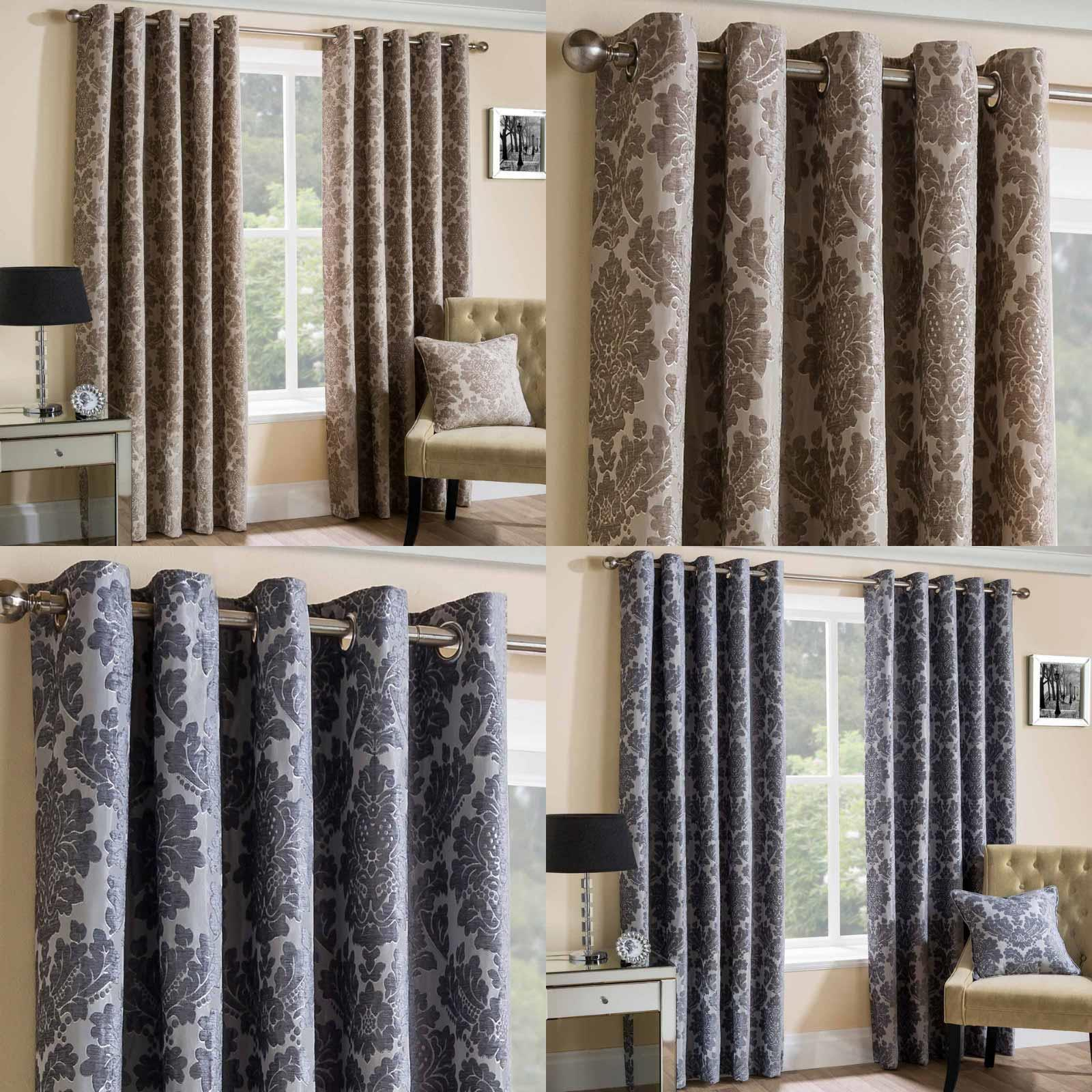 Home Furniture Diy Damask Eyelet Curtains Chenille Lined