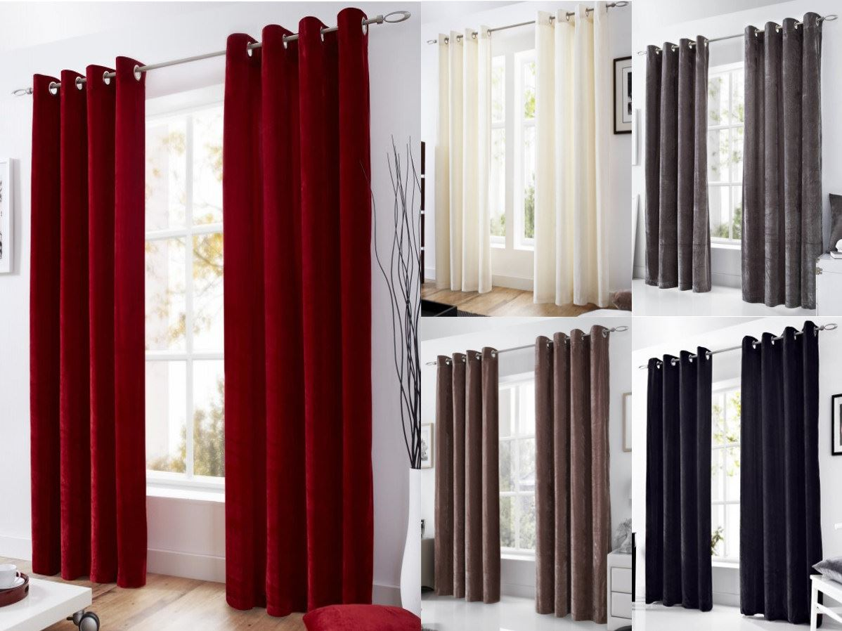 Velvet Eyelet Lined Curtains Ready Made Ringtop Curtain