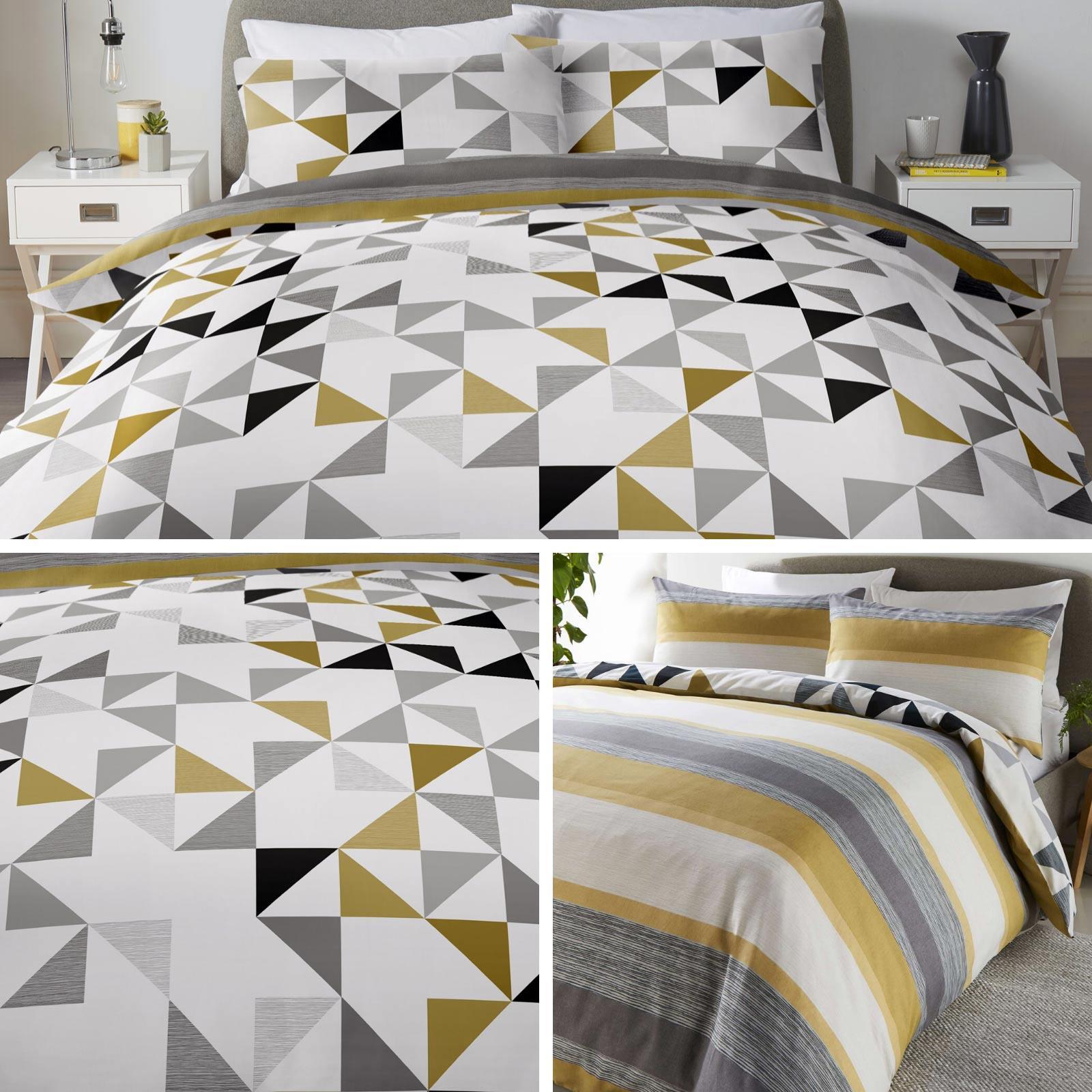 Ochre Duvet Covers Geometric Stripe Reversible Modern Quilt Cover Bedding Sets Ebay