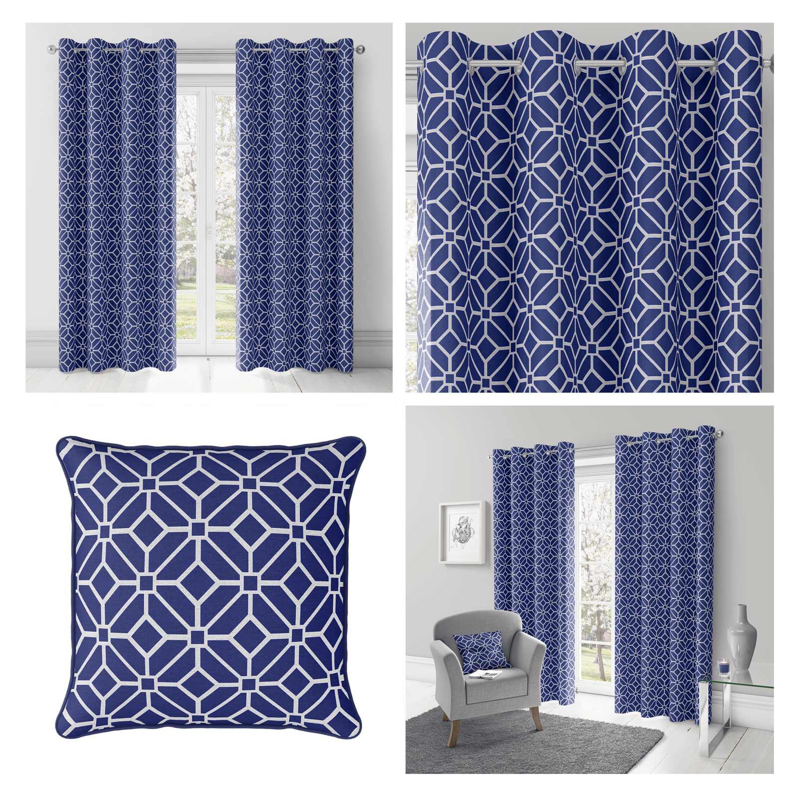 Navy Blue Eyelet Curtains Geometric Lined Ring Top Ready Made