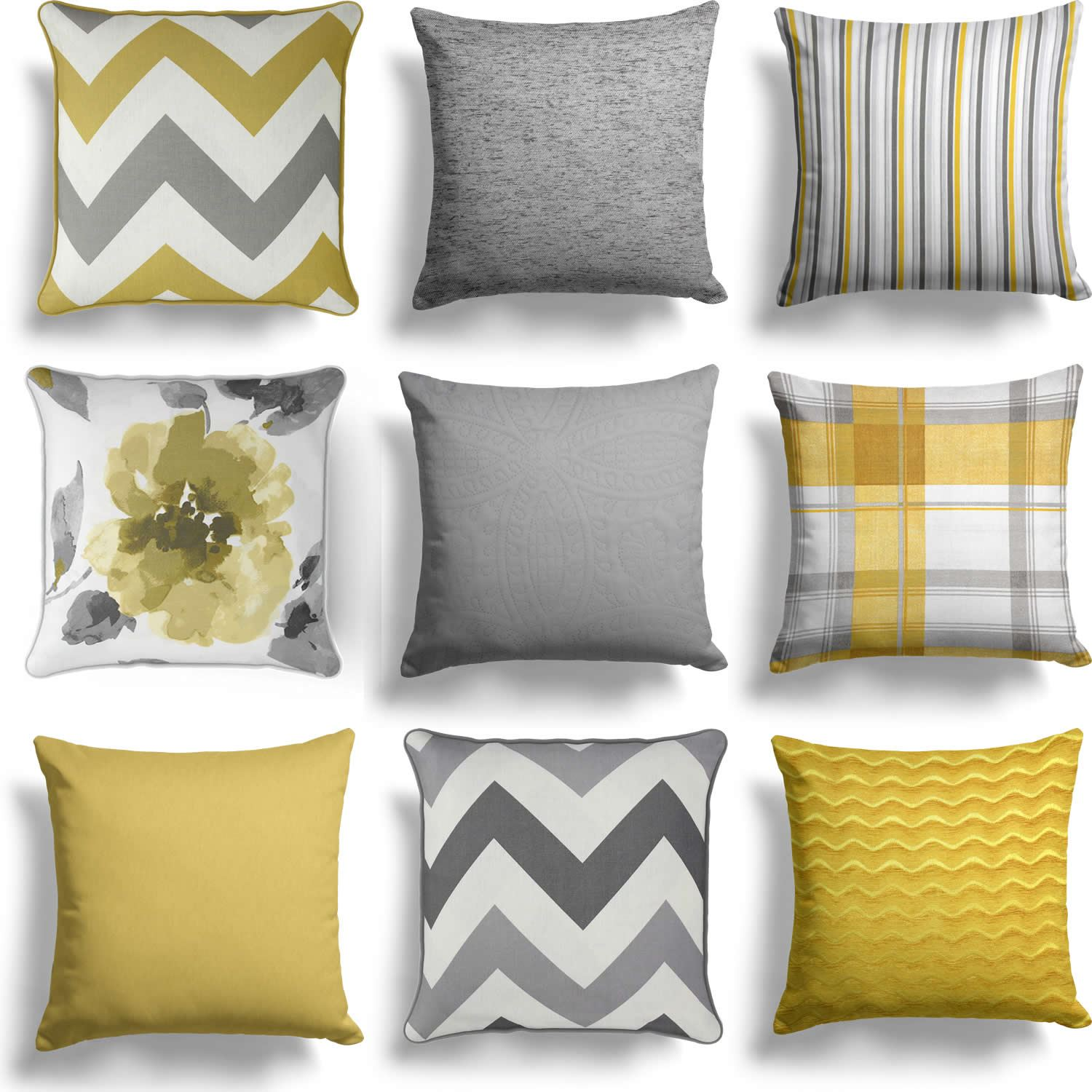 Ochre Mustard Yellow Grey Cushion Cover Collection 17