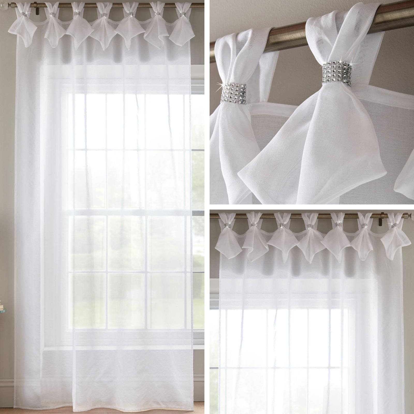 White Voile Curtain Diamante Sparkle Tab Top Pleated Panels Bling Sheer Voiles Ebay