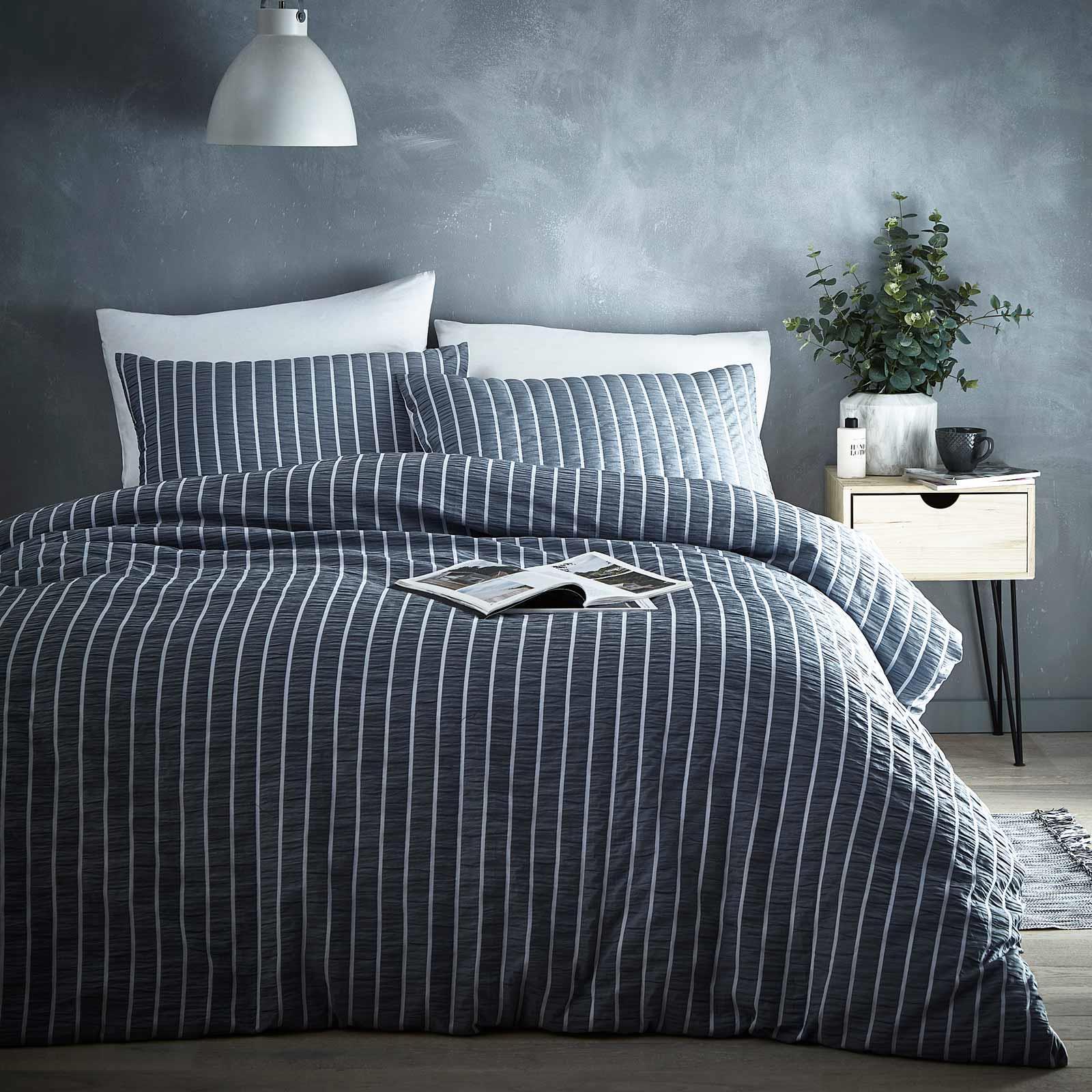Grey Duvet Covers Seersucker Stripe Ruched Modern Quilt Cover Bedding Sets Ebay