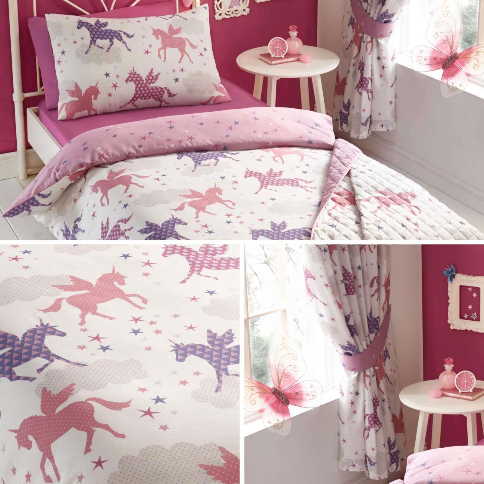Pink Duvet Covers Divine Unicorns Star Print Girls Kids Quilt Cover Bedding Sets Ebay