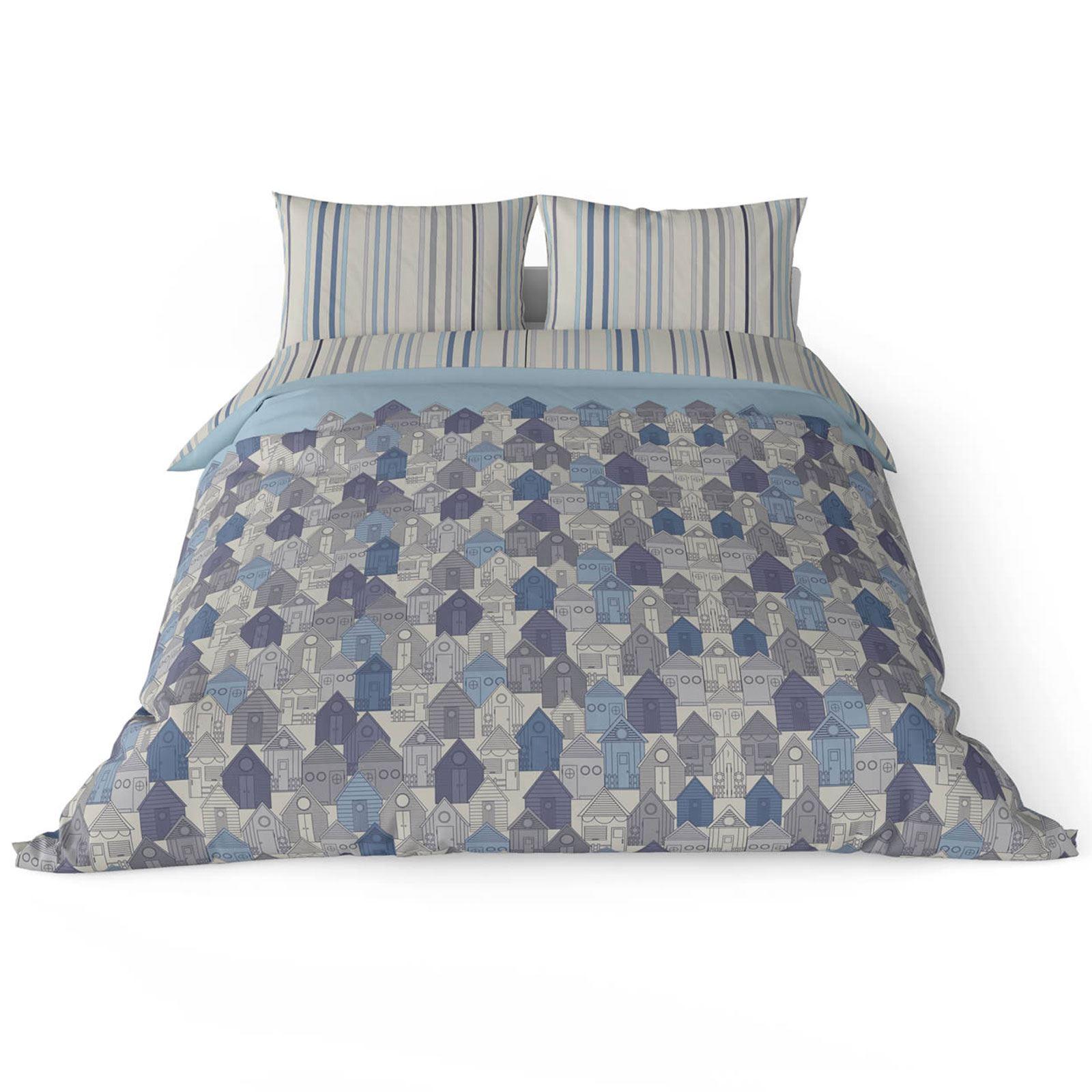 Funda-nordica-azul-azul-marino-verde-azulado-edredon-algodon-estampado-juego-conjuntos-de-cama-cubre miniatura 48