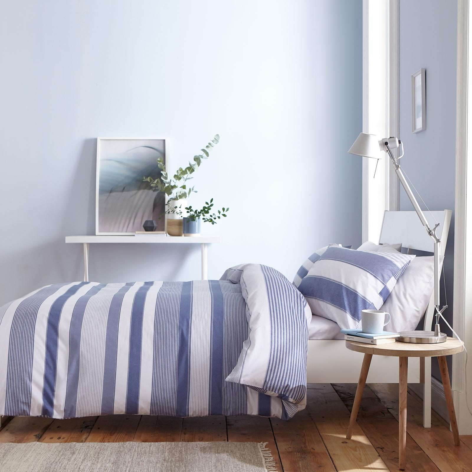miniatuur 6 - Catherine Lansfield Newquay Stripe Blue Duvet Covers Quilt Cover Bedding Sets