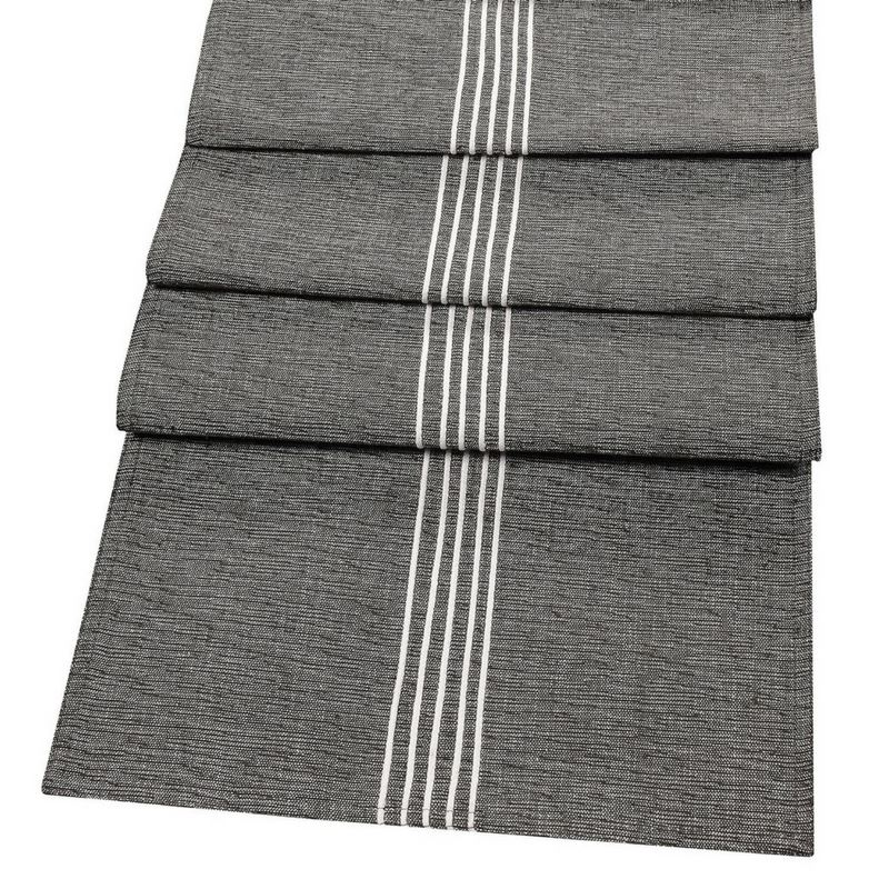 OXFORD STRIPE LUXURY TABLE RUNNER 100% COTTON EMBROIDERED FABRIC TABLE LINEN