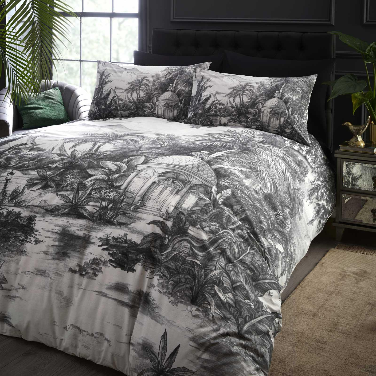 Grey Duvet Covers Tropical Jungle 100 Cotton Laurence Llewellyn Bowen Quilt Set Ebay